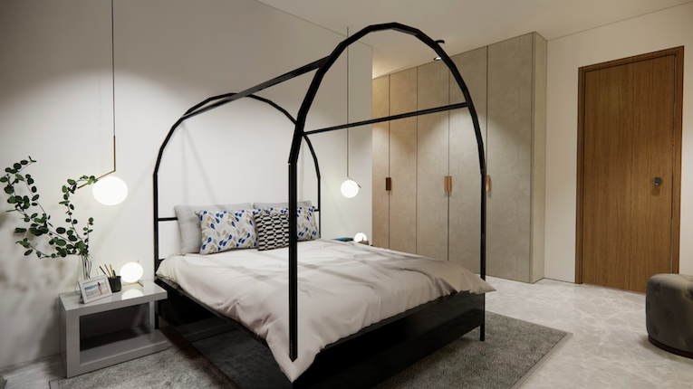 Interior design for a minimal bedroom with an arched bed and fluted panelled walls