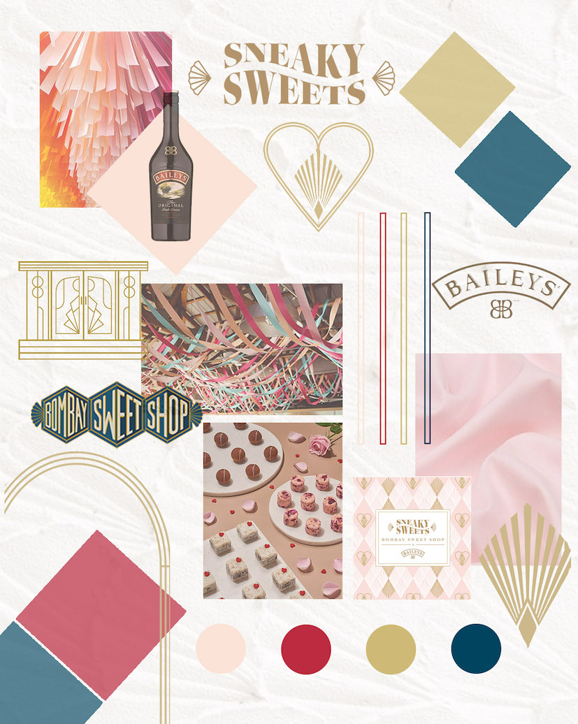 Mood board for a pop up design for the bombay sweet shop