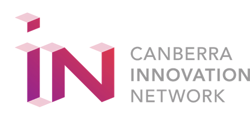 i and n as geometric purple letters with Canberra Innovation Network as grey text