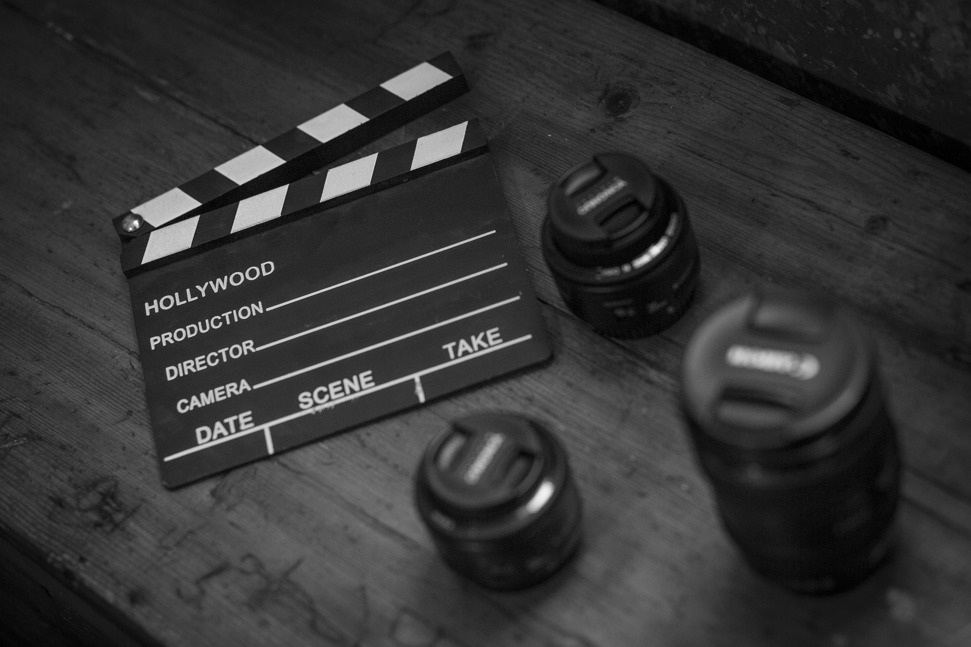 Film recording tools resting on wooden table
