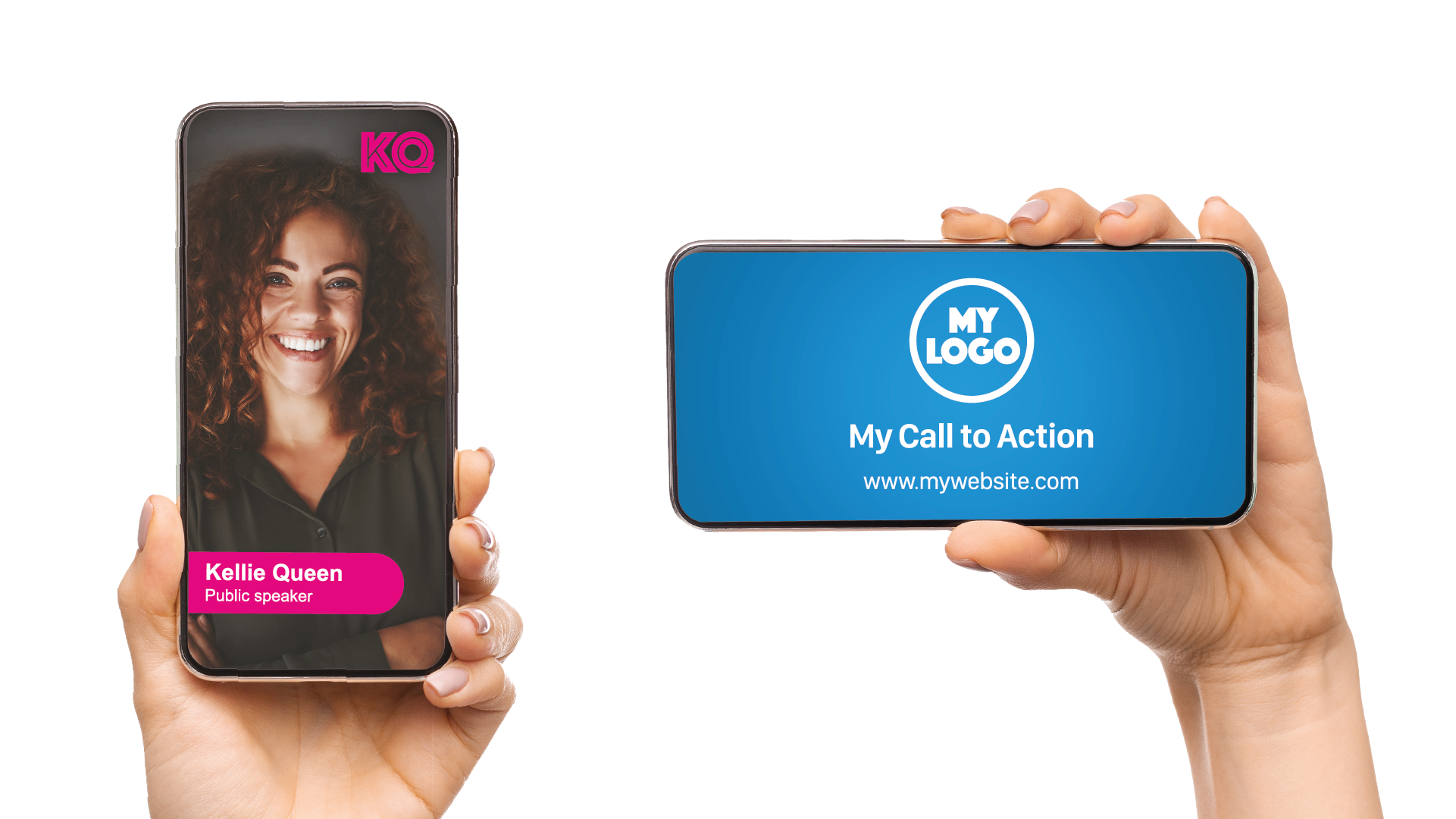 One hand holding phone vertically. On the phone screen is a woman smiling. Another hand holds the phone horizontally with a blue video title template displayed on the phone screen.
