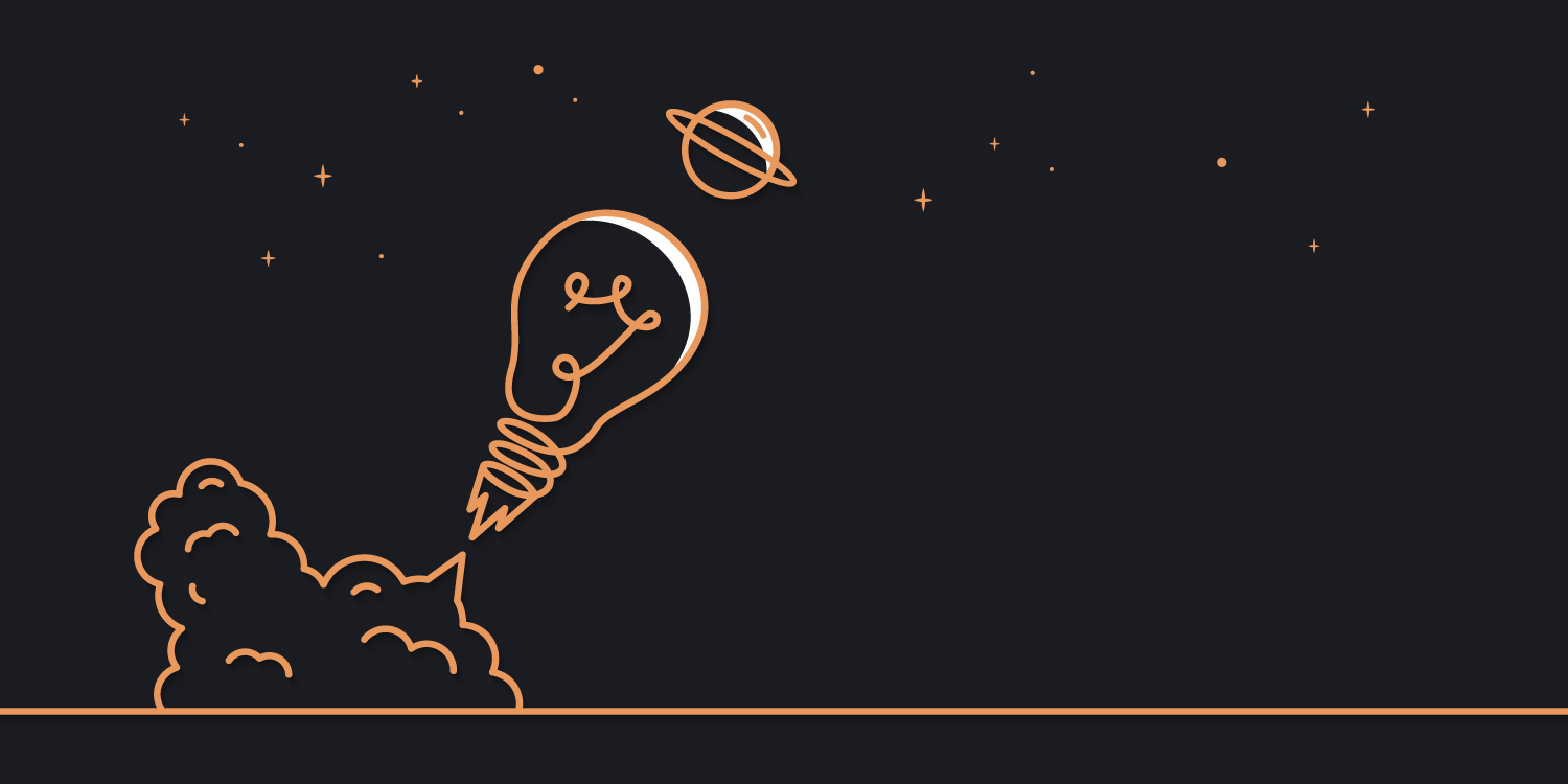 Bulb launching into stars - dark theme