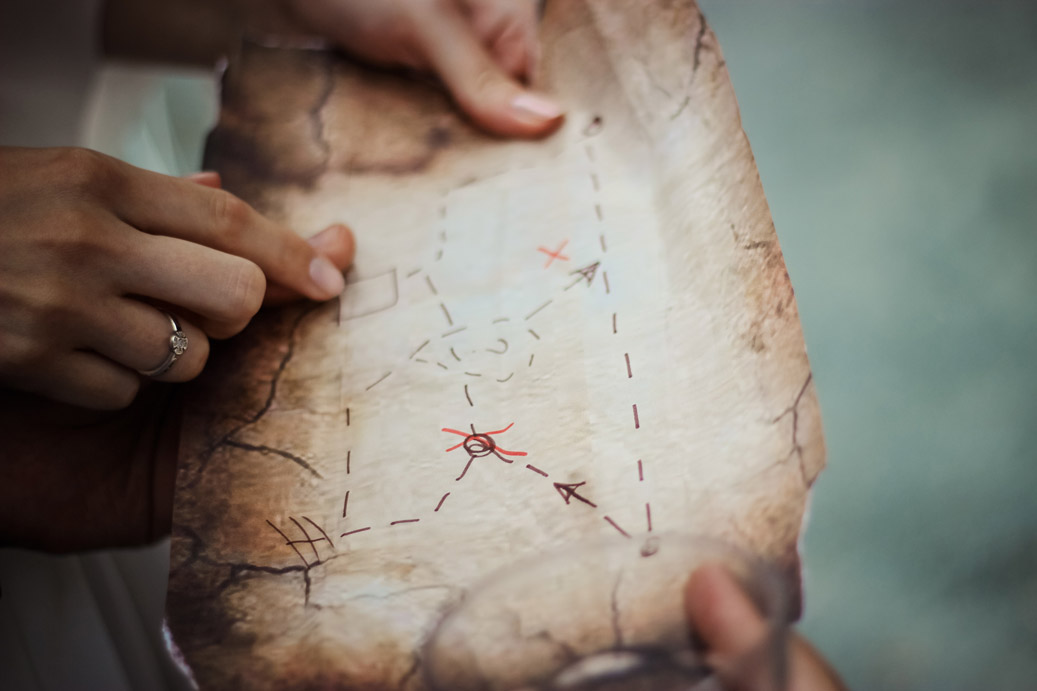 finding direction - treasure map