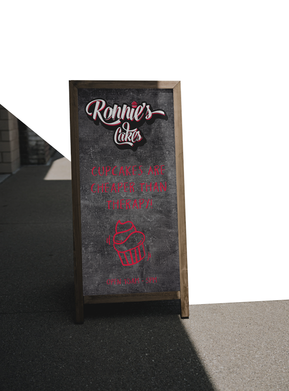 Ronnie's Cakes, advertising board