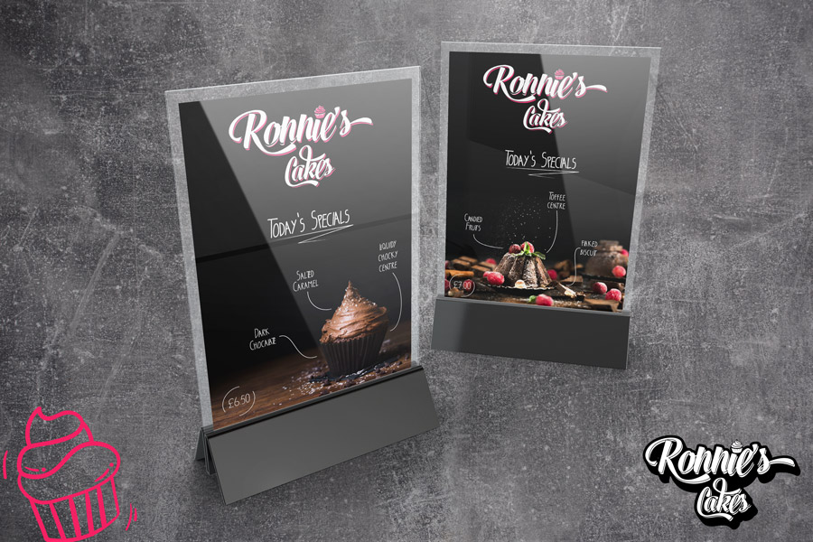 Ronnie's Cakes - Table top branding - slate backing