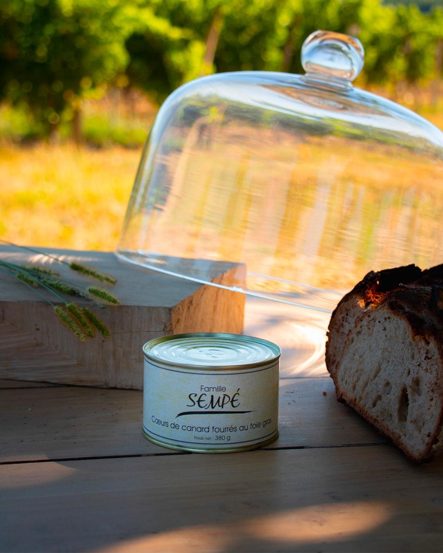 Coeurs de canard fourrés au foie gras