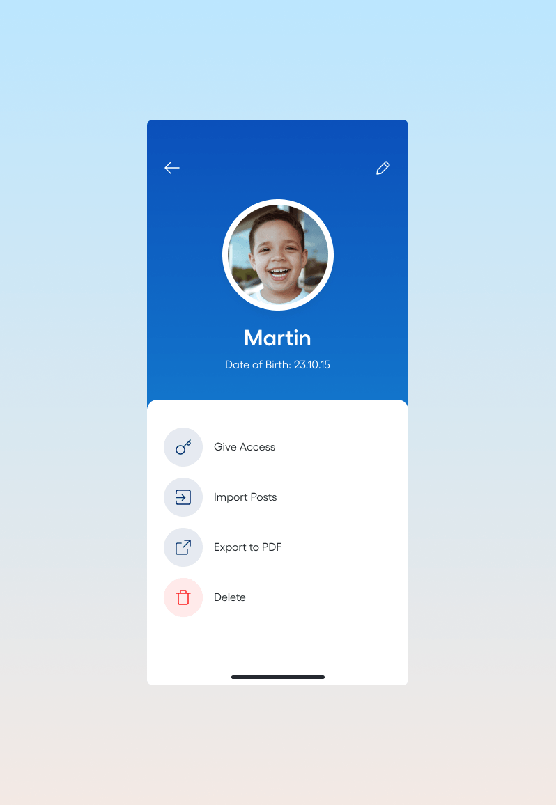 App screenshot: user info
