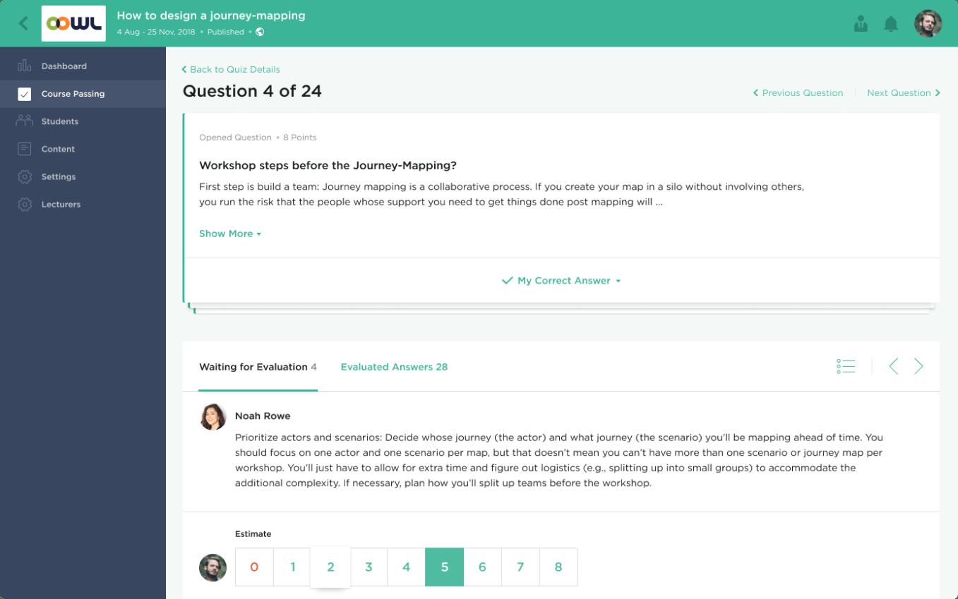 Quiz questions screen