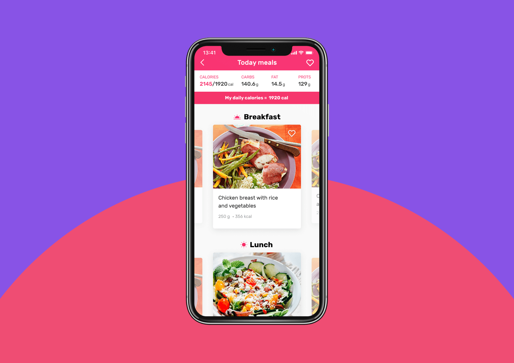Meals plan in fitness app MsFit