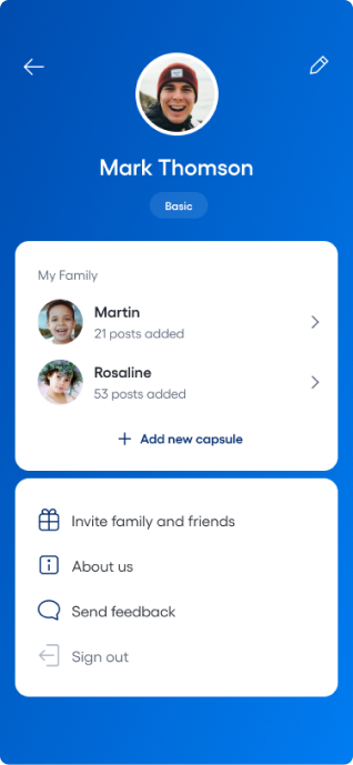 App screenshot: home screen