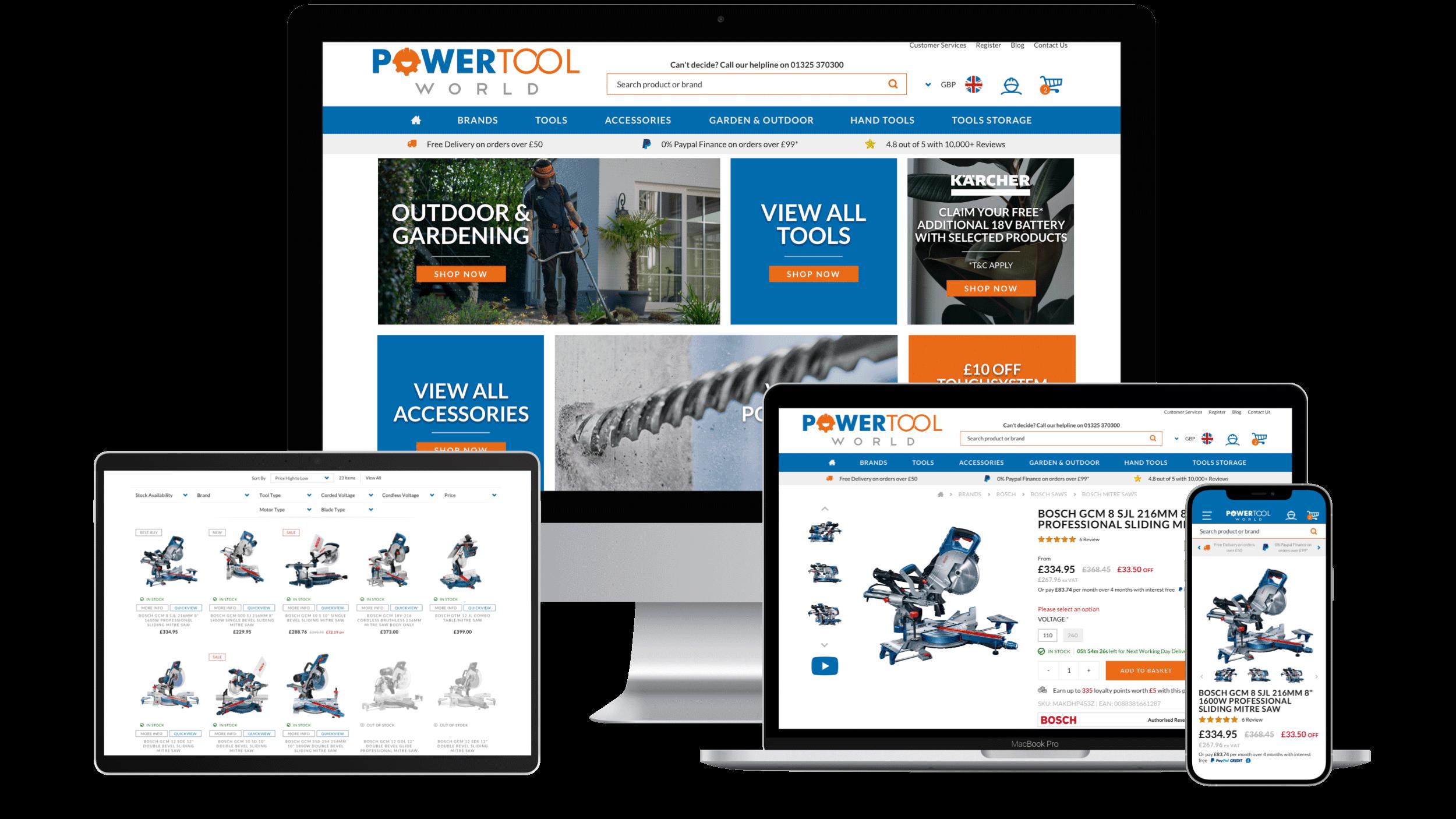 Powertool World Magento 2 Responsive Design