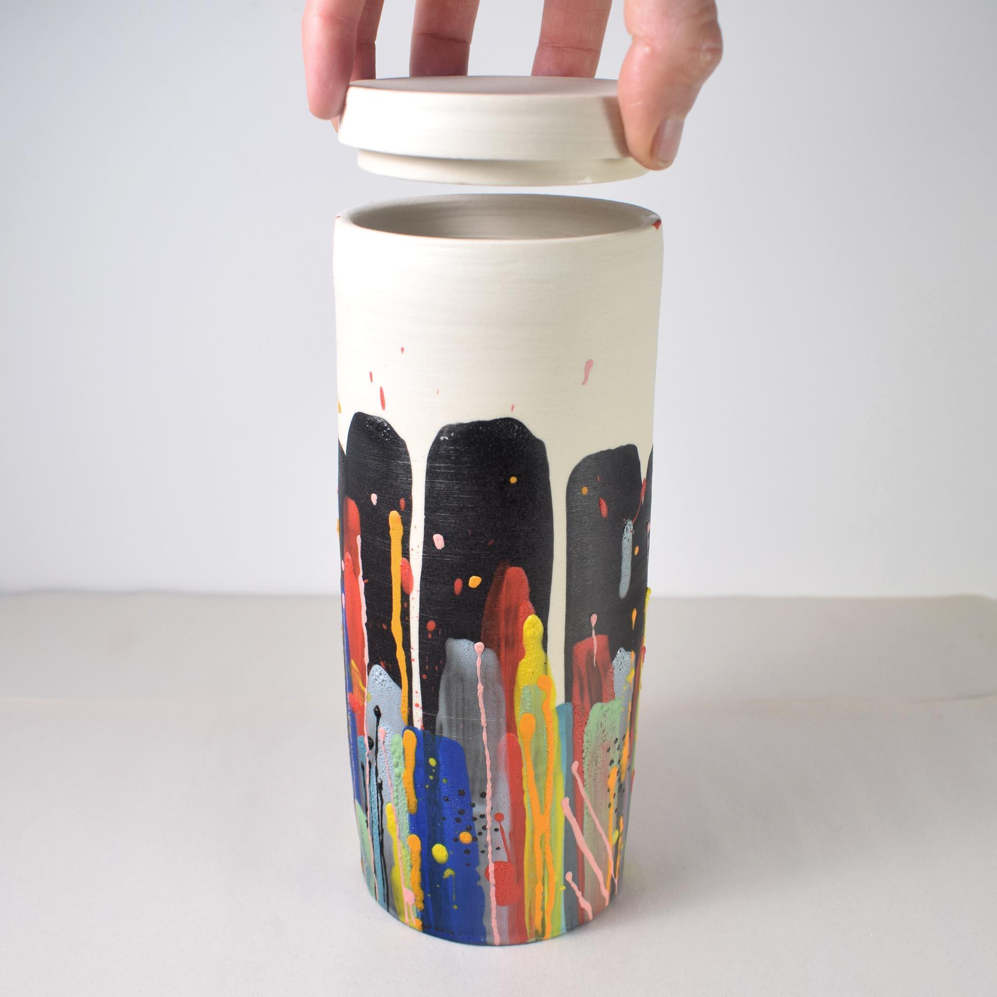Colorful tall porcelain lidded jar