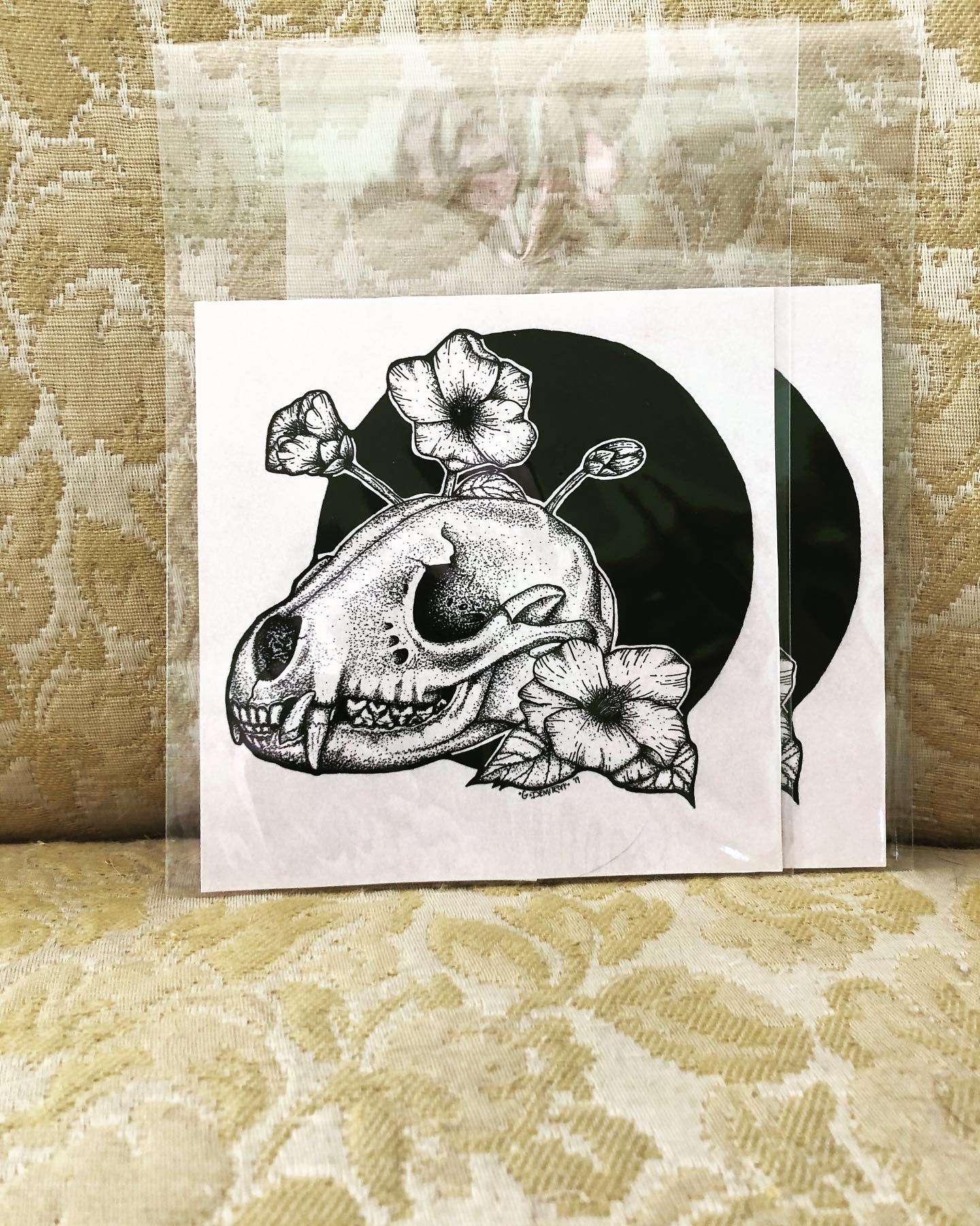 Raccoon skull with camellia flowers print