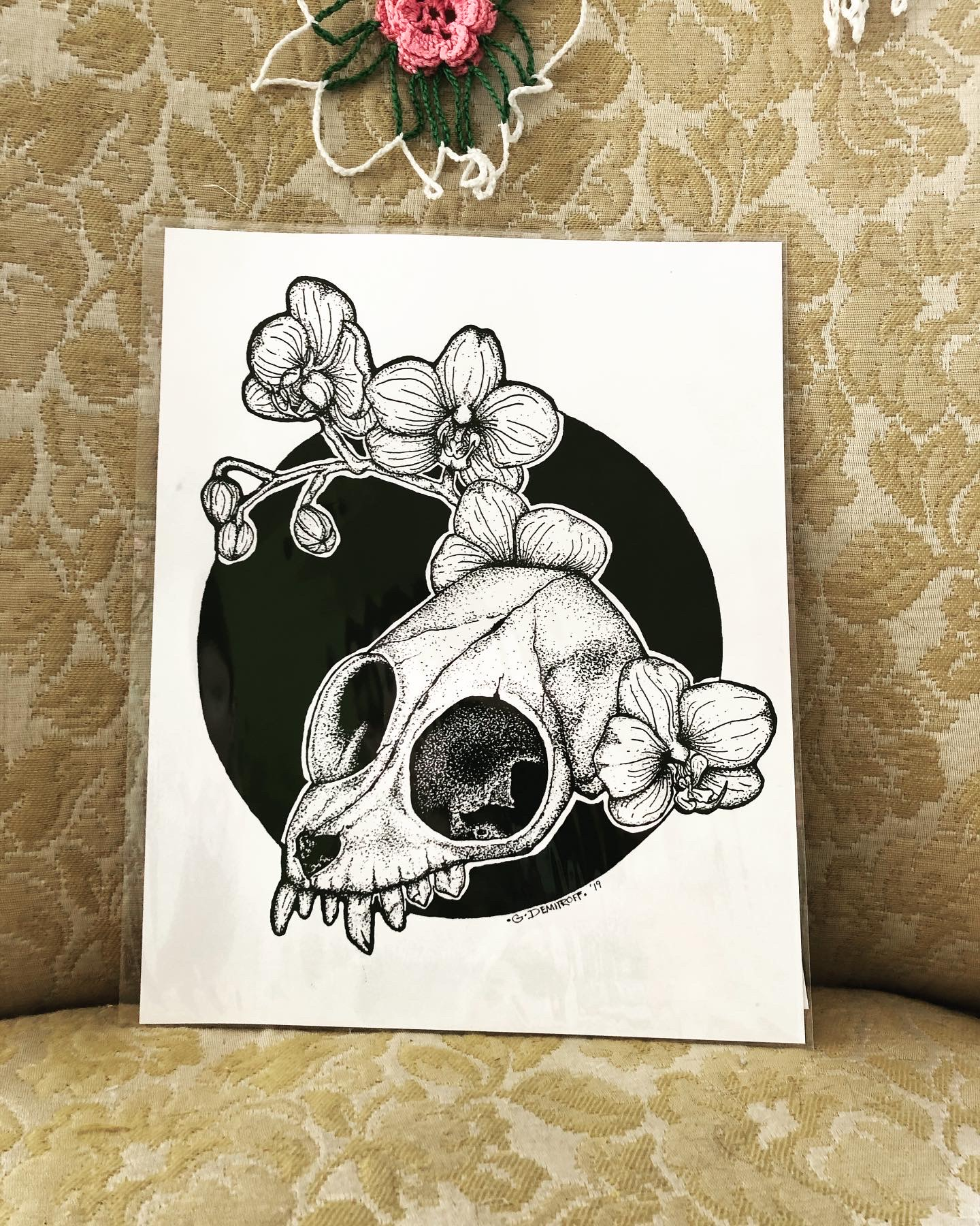 Slow Loris skull with orchid flowers print