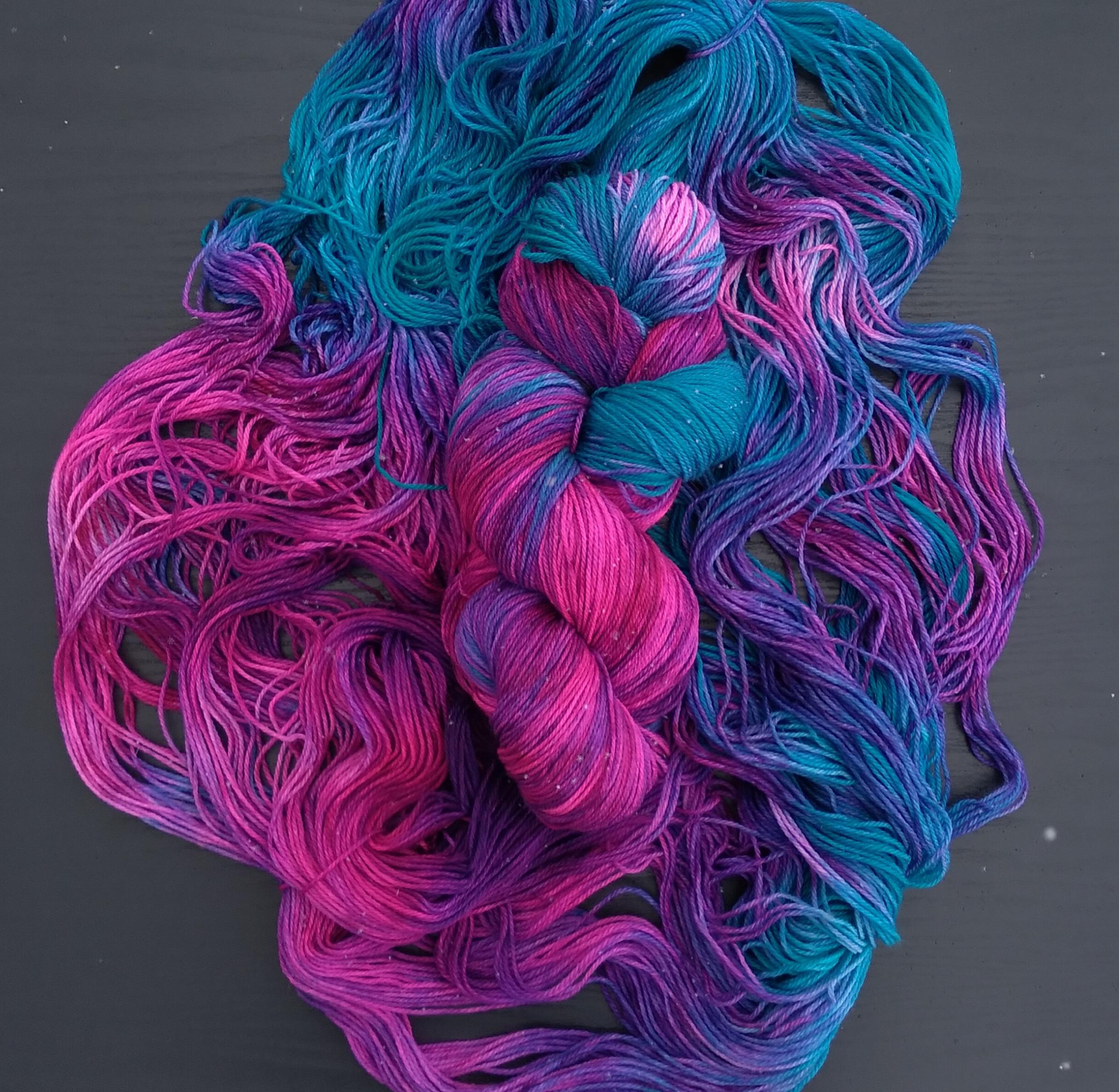 Blue pink and purple yarn bundle