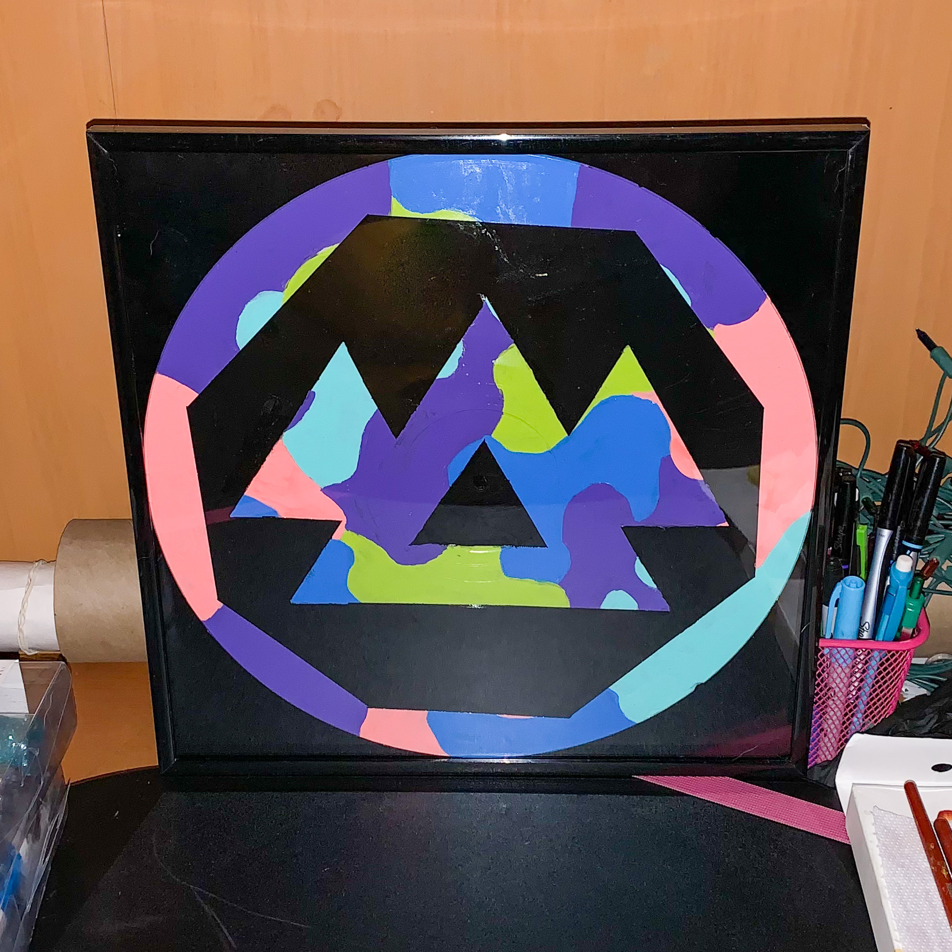 """12"""" Recycled Painted Vinyl Record Framed"""