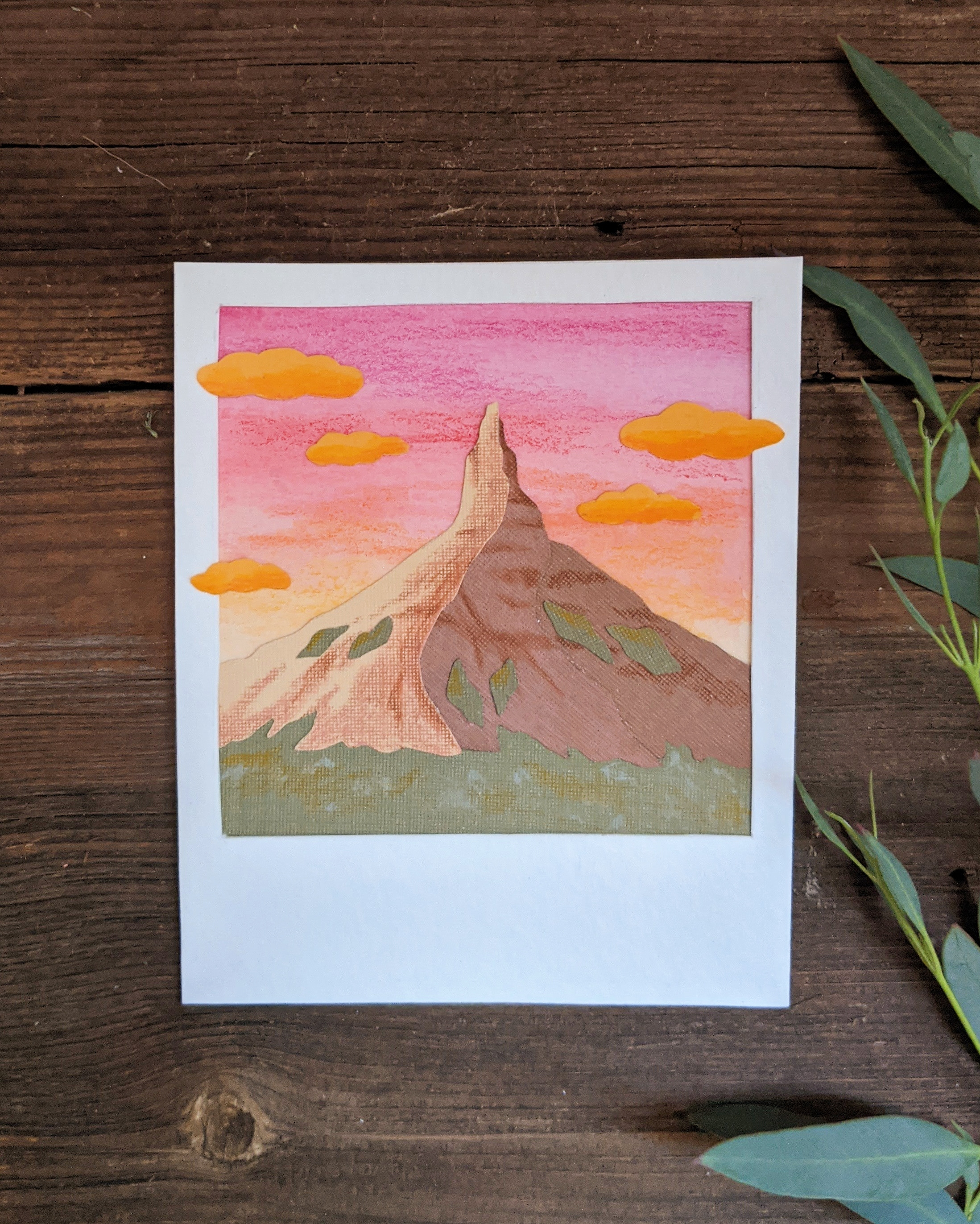 Drawn polaroid of Chimney Rock