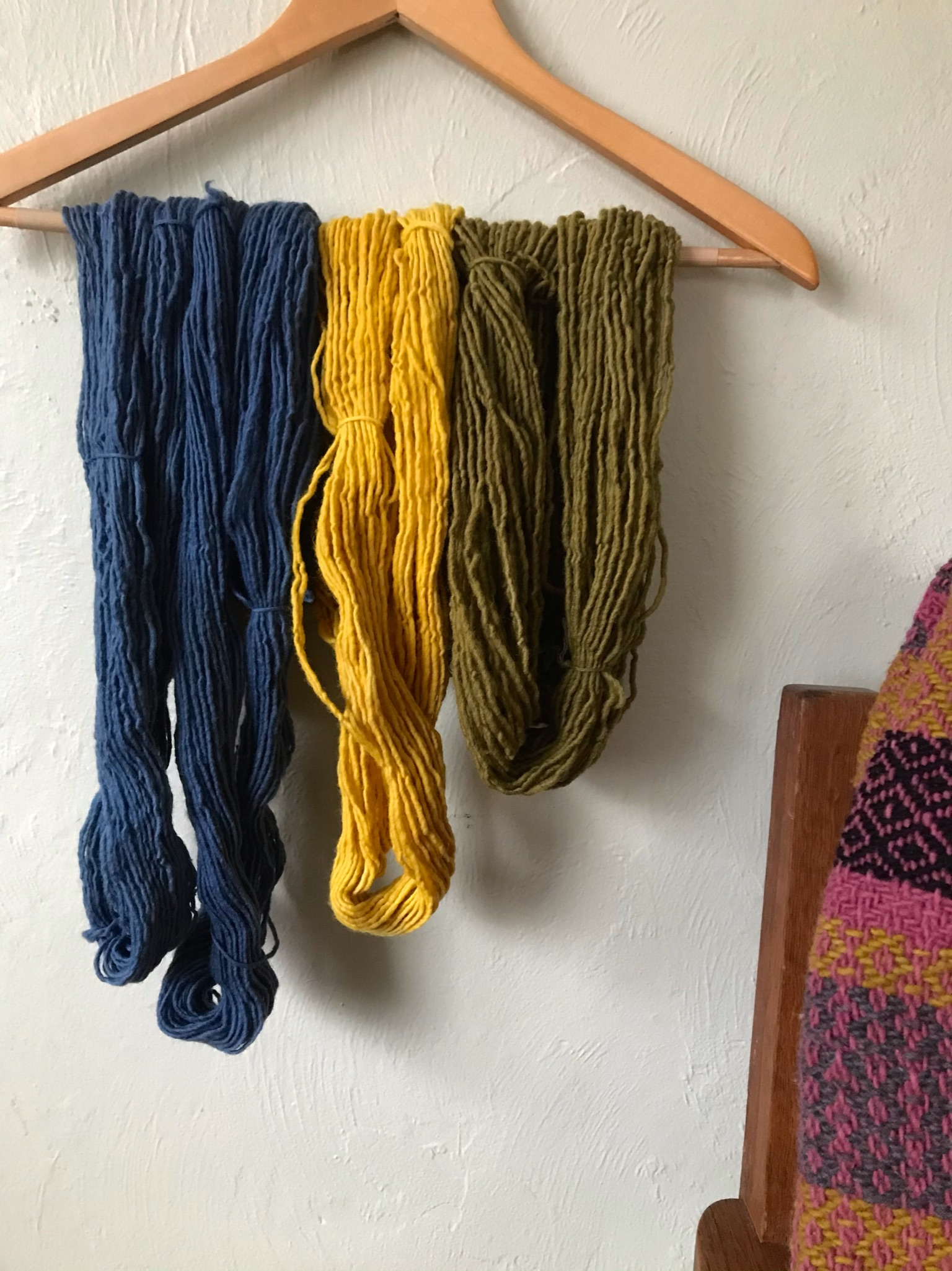 Yarns in blue, yellow, and green.