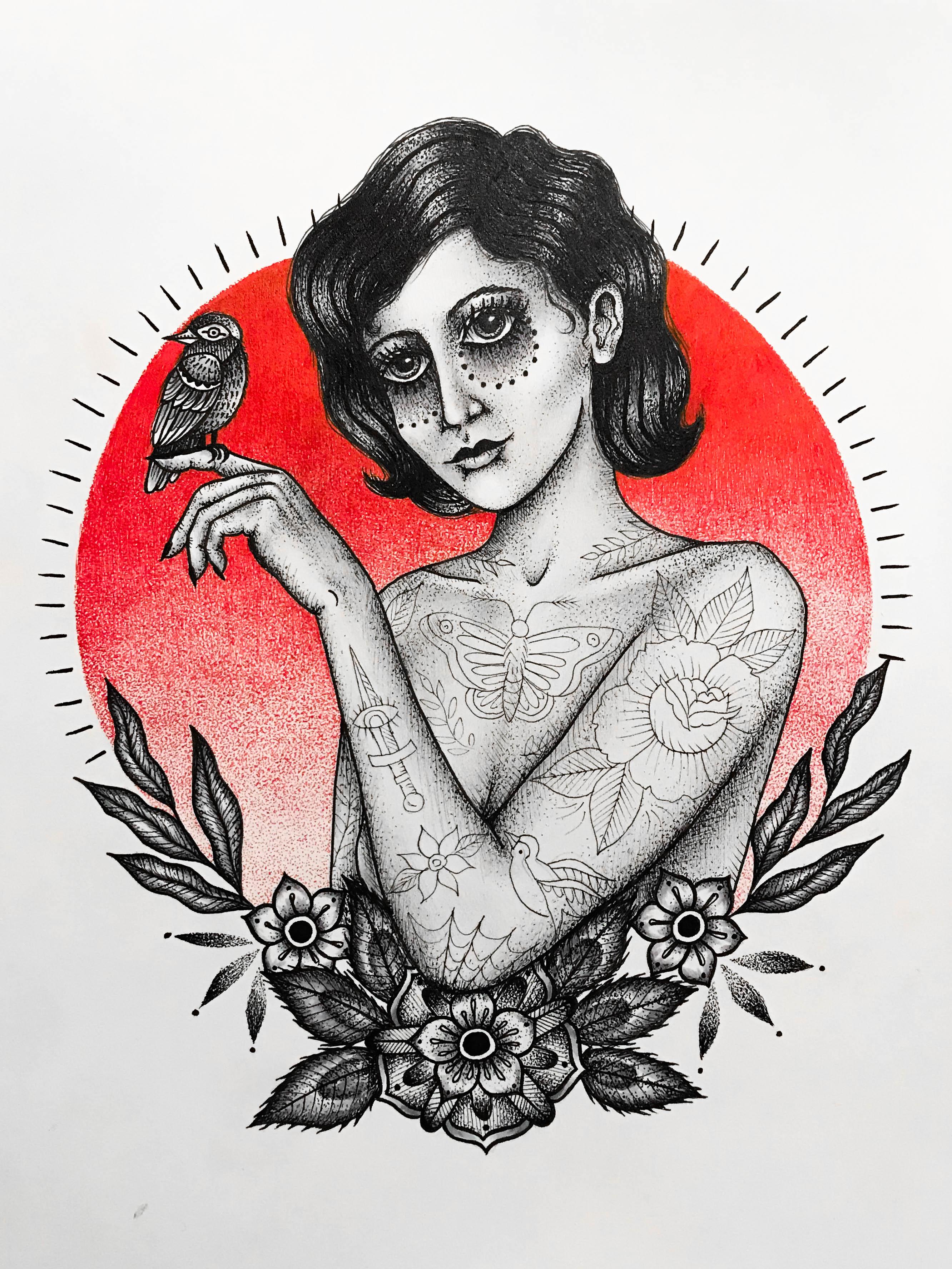Woman with bird illustration