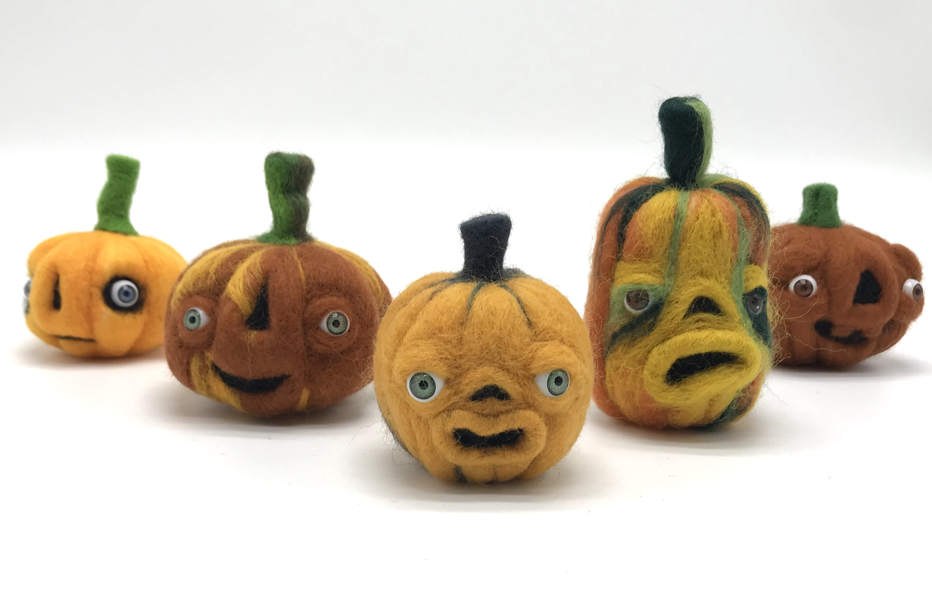 Needle-felted gourd friends