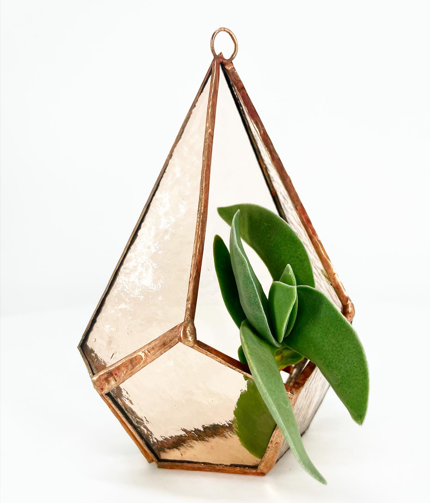 Wall hanging stained glass terrarium