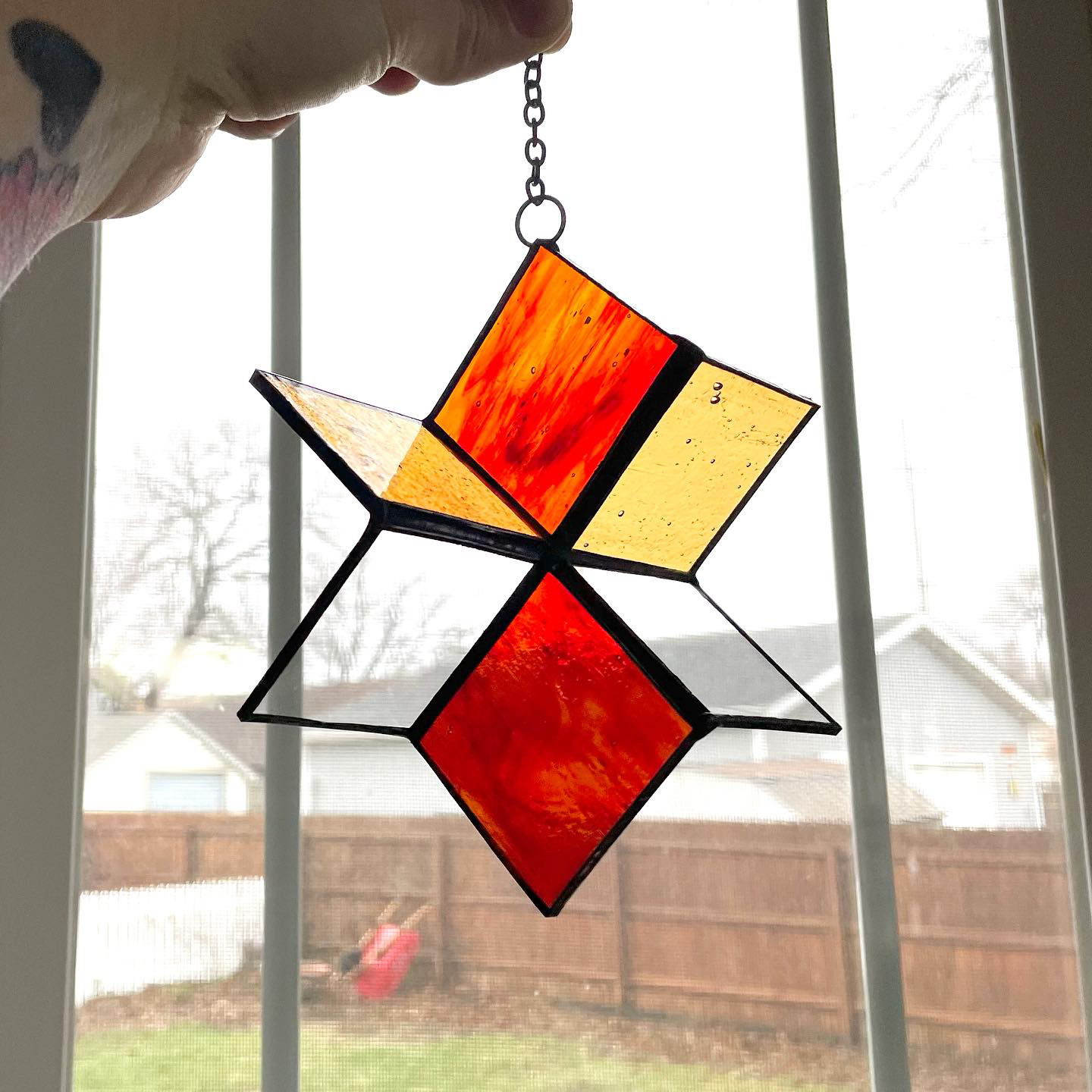 Stained glass wind spinner