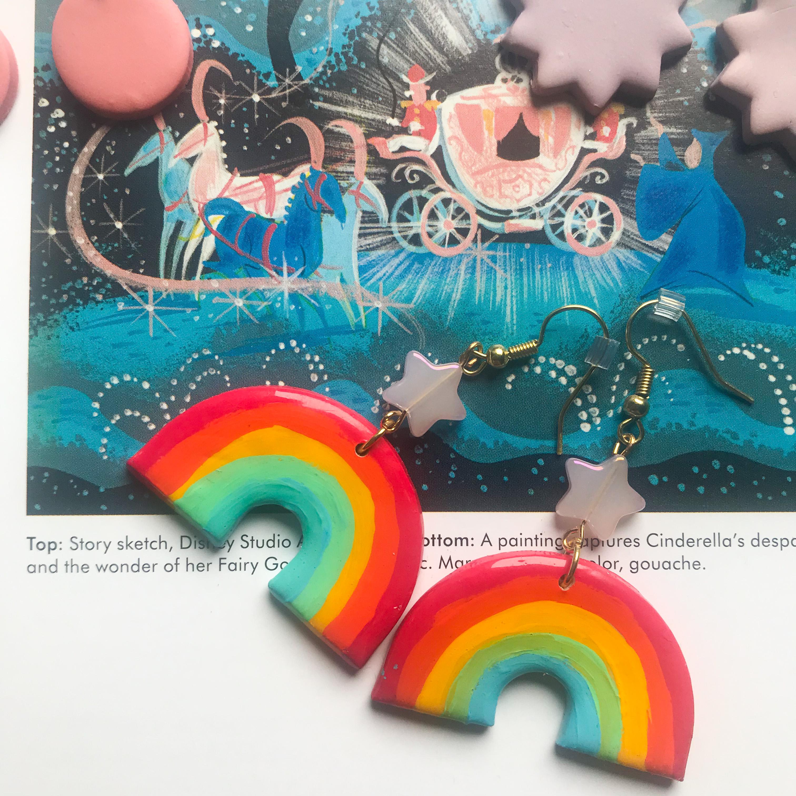 Hand painted rainbow earrings