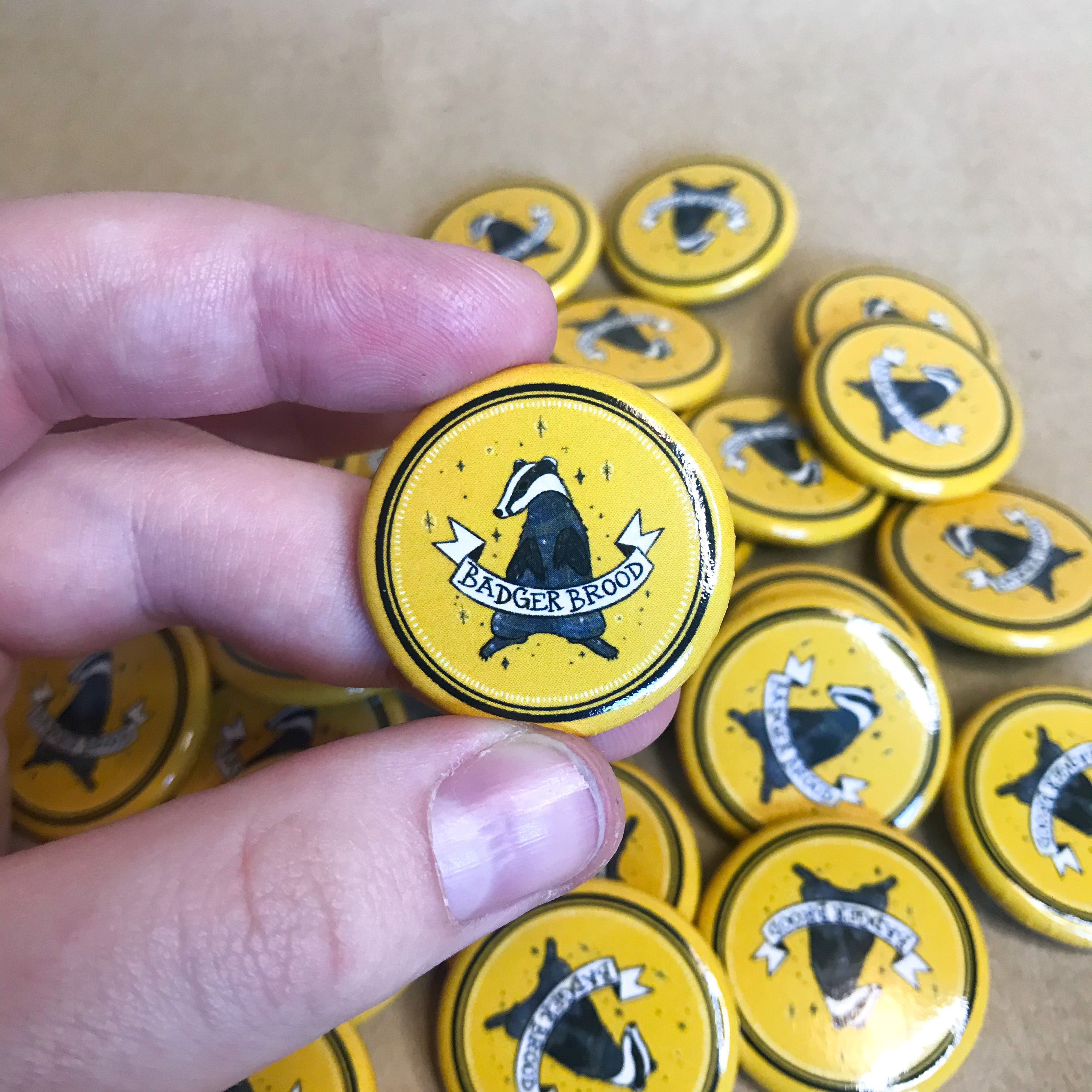 """""""Badger Brood"""" button/pin"""
