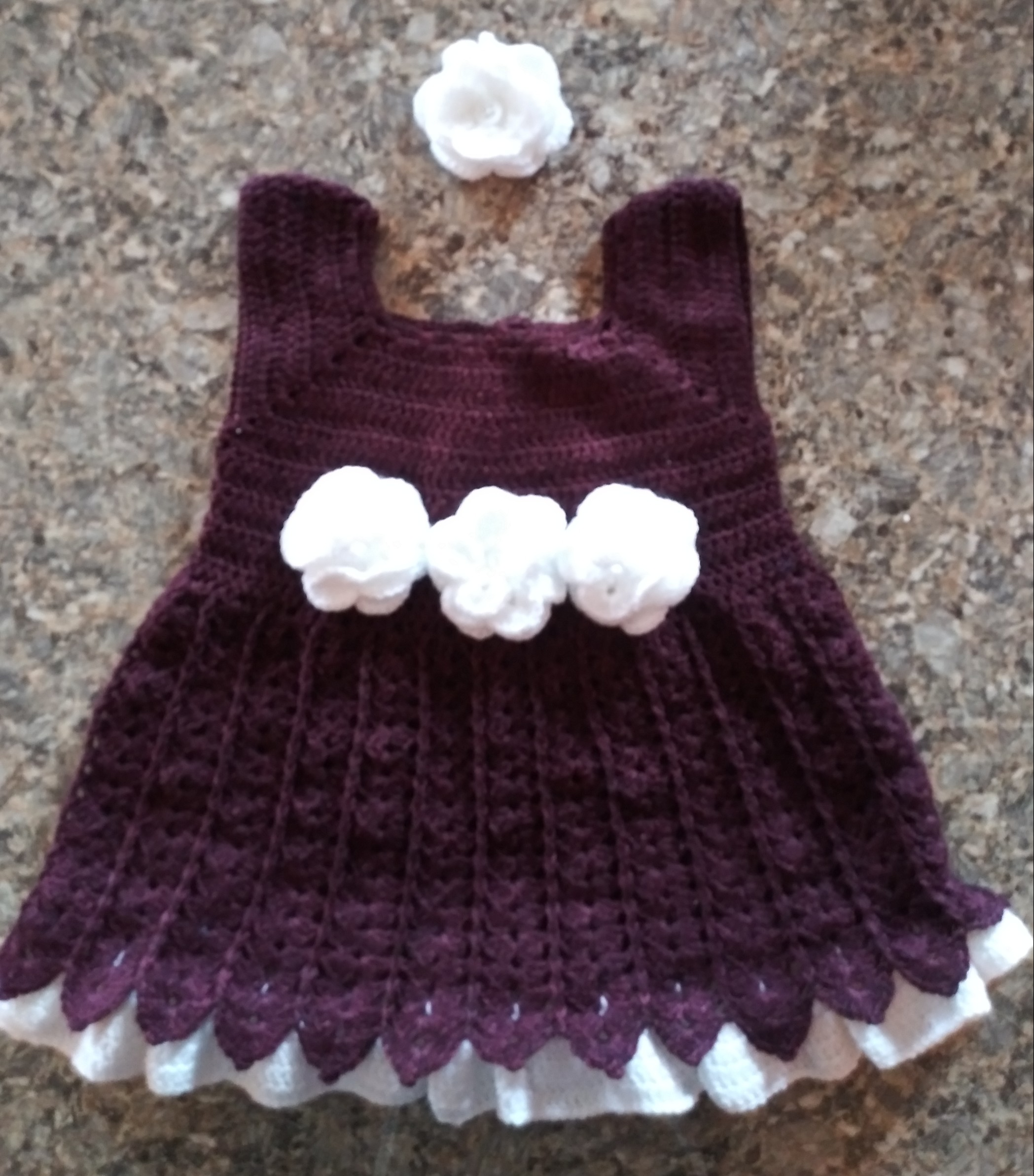 Multi-color short-sleeve baby dress with barrette