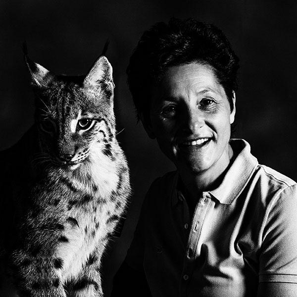 Muriel Bec et la lynx Ria