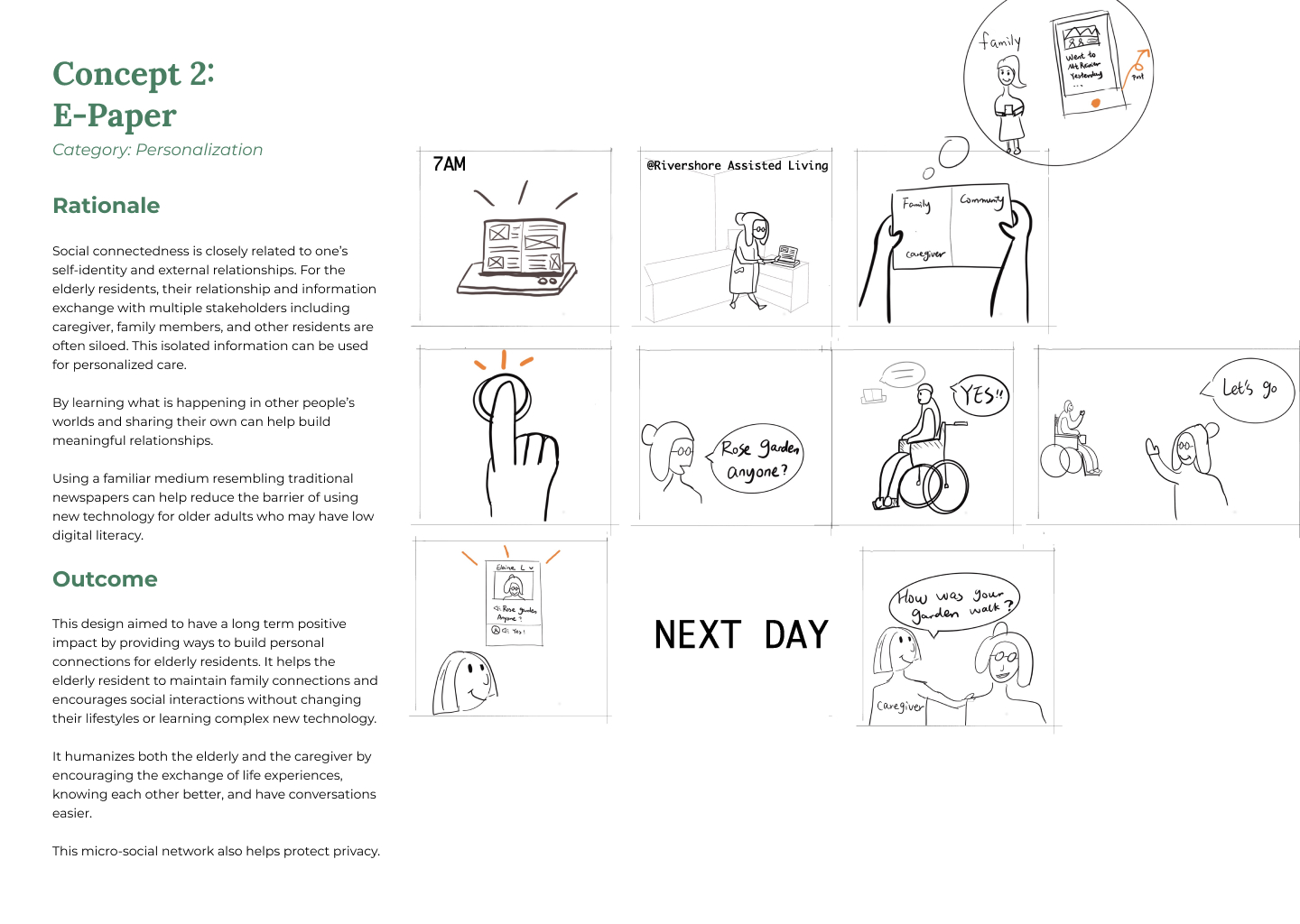 Ideation concept two storyboard with rationale and expected outcome