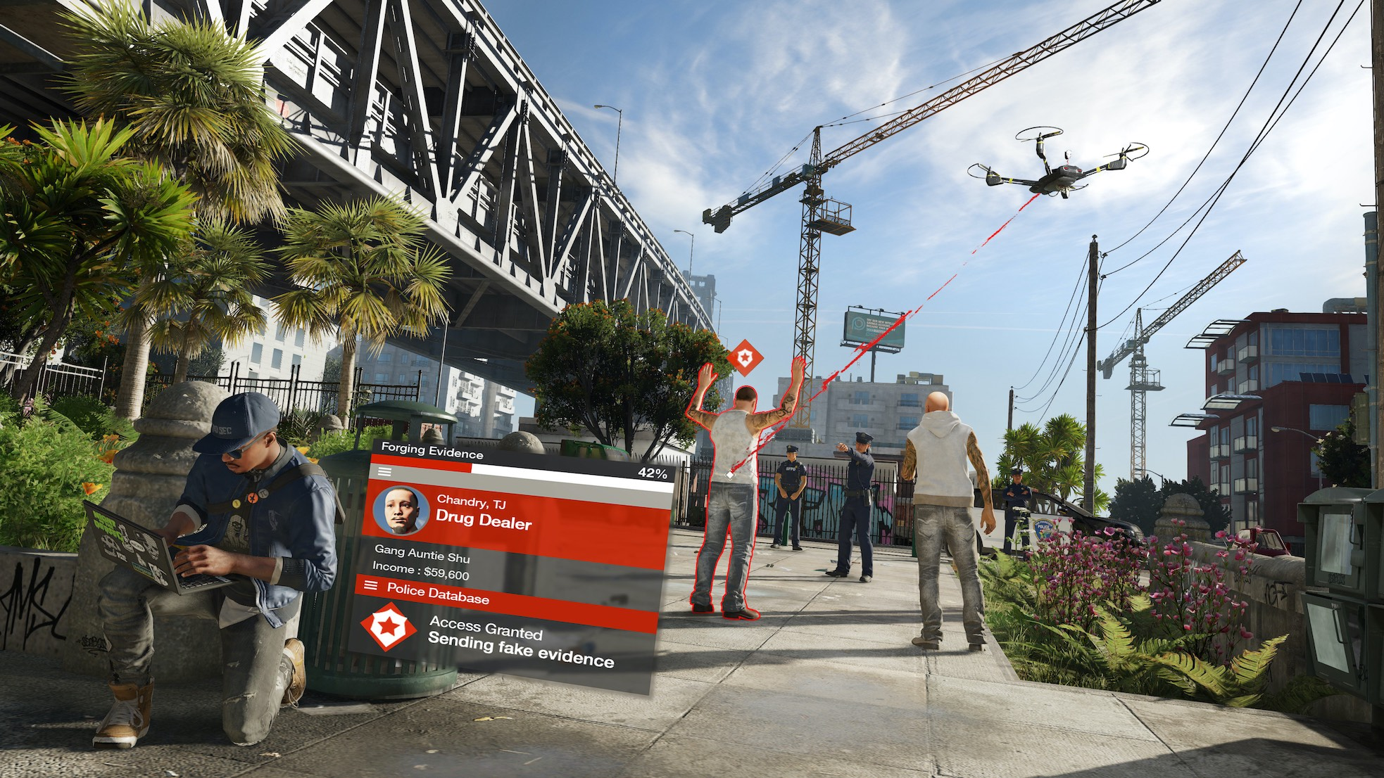 A screenshot of the hacking mechanic, with a drone intercepting a drug deal nearby.