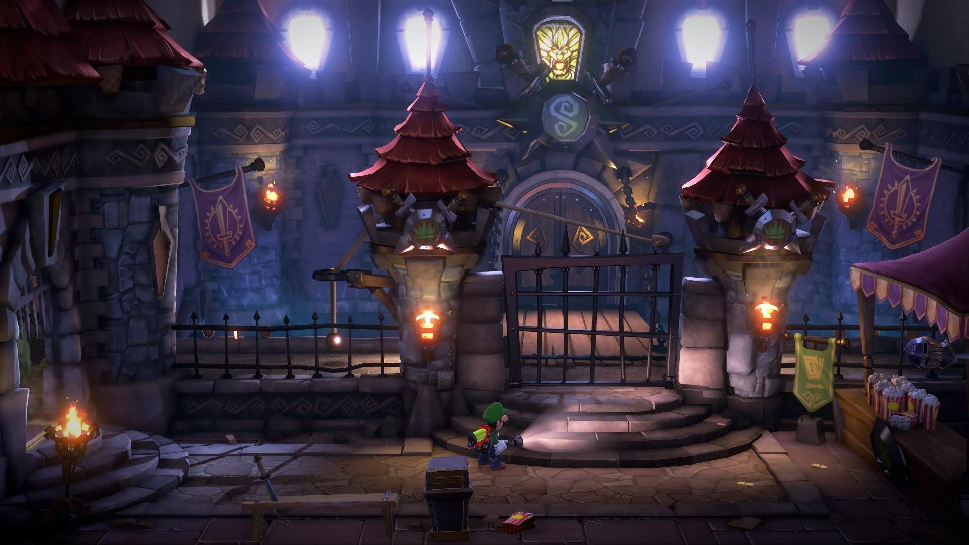 Luigi exploring a castle-themed level.