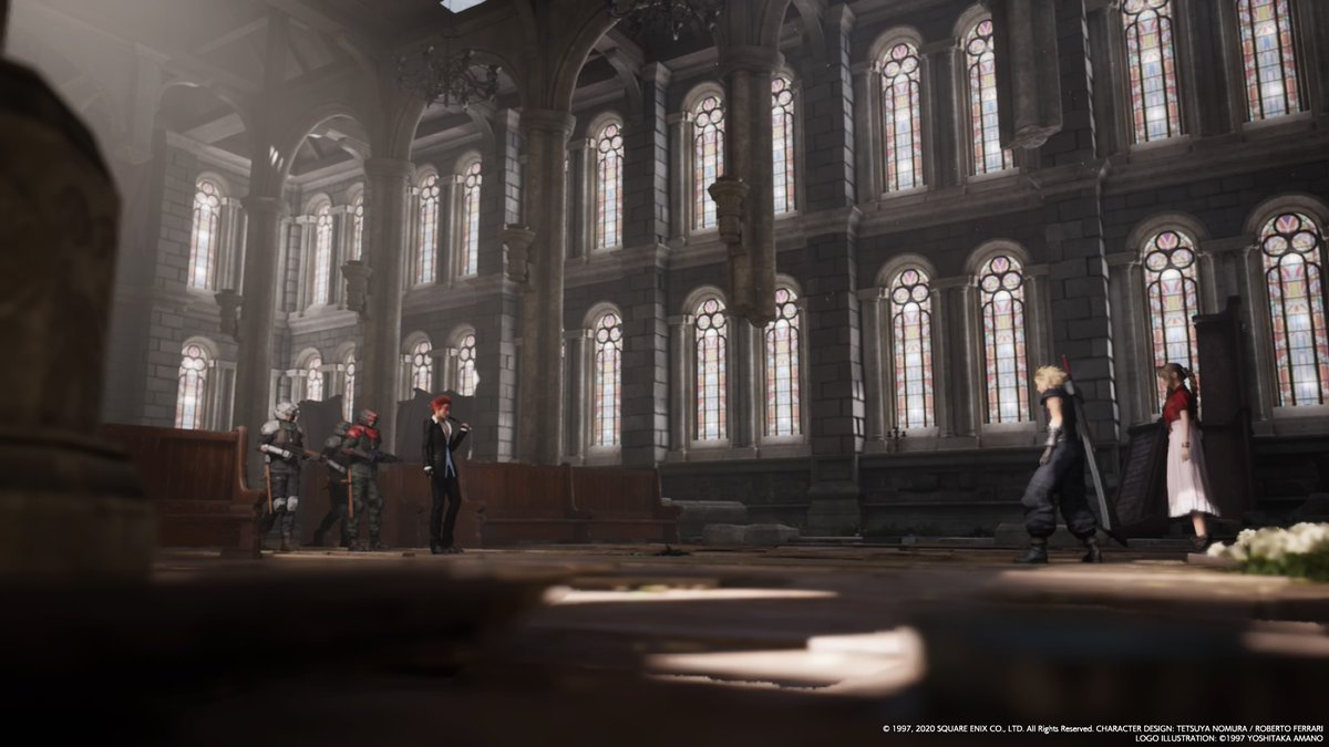 The church in Sector 5, with Cloud, Aerith & Reno in the background.