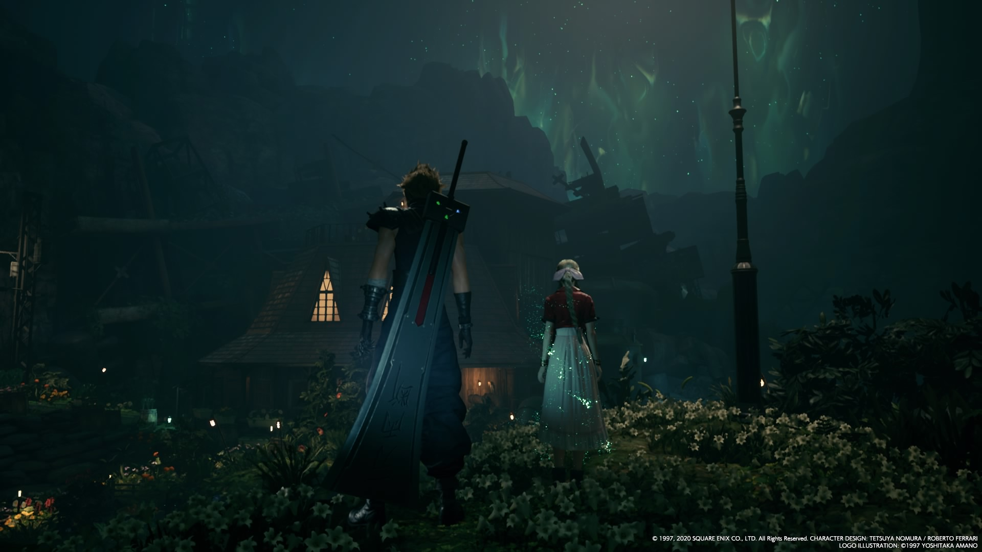 Cloud & Aerith in the garden at night.