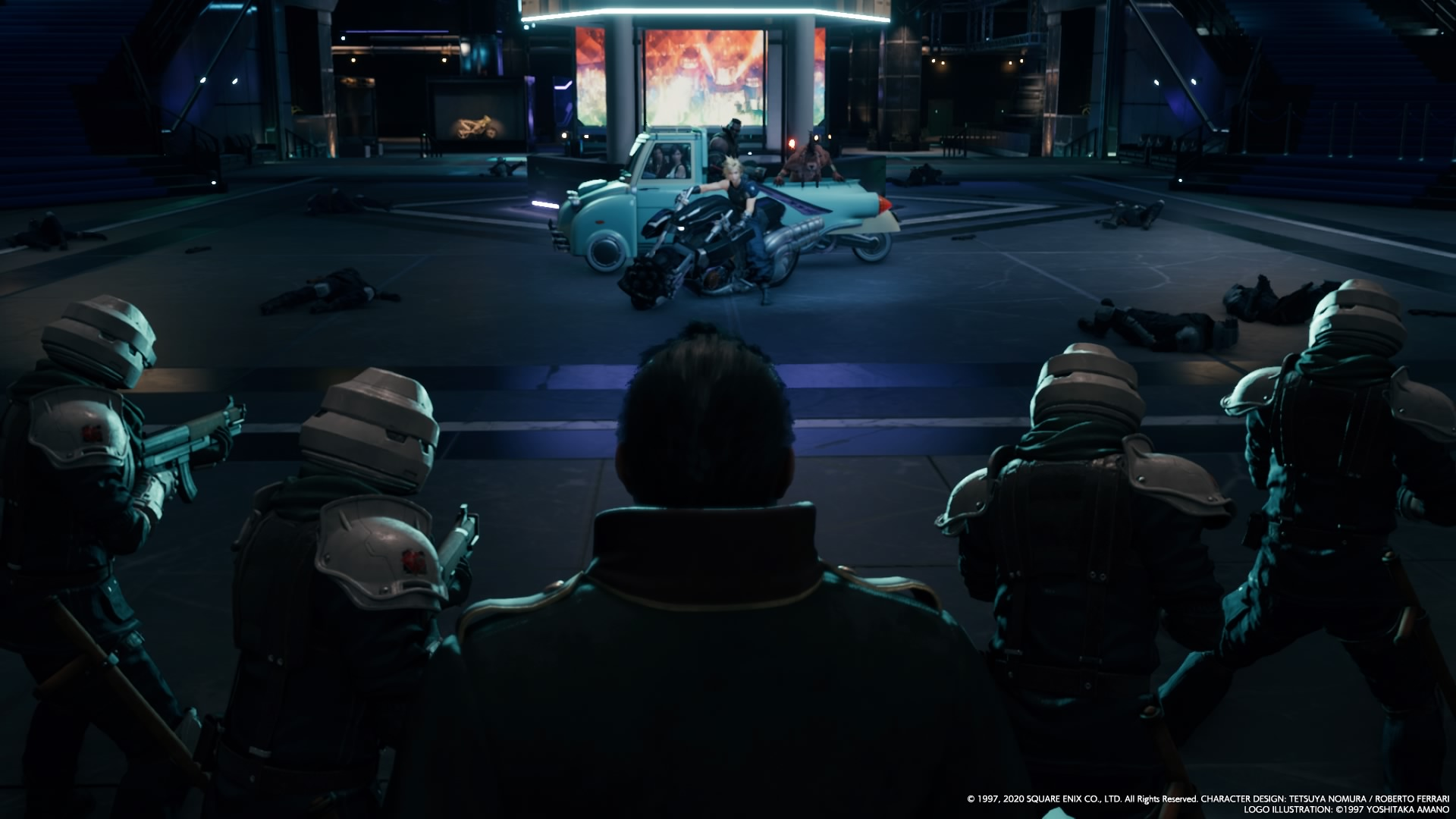 Cloud on a motorcycle, facing down Heidegger & some Shinra troops.