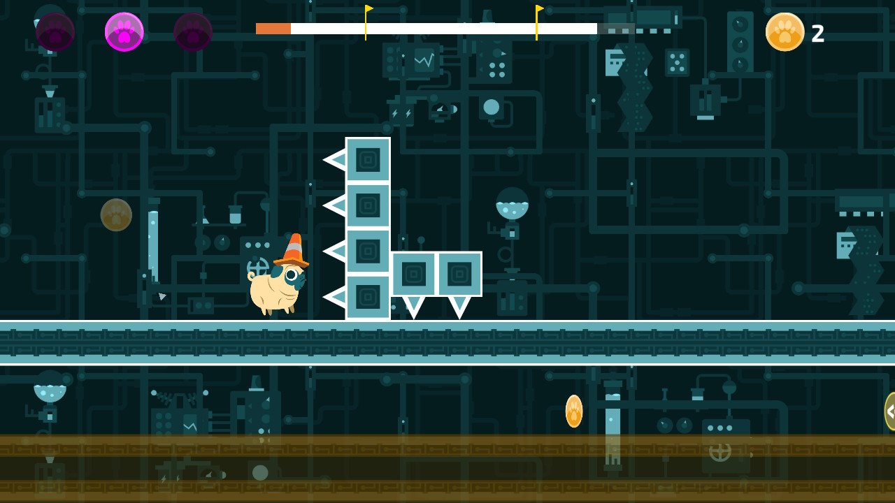 A screenshot of Double Pug Switch. Otis is about to run into some spikes.