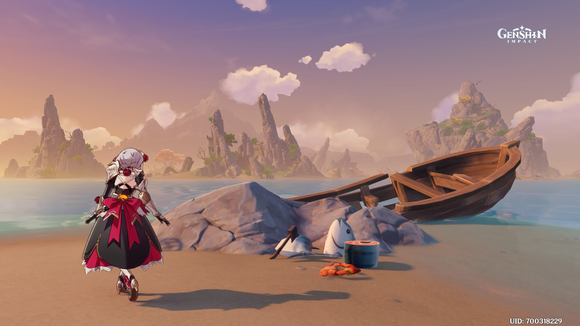 A screenshot of Noelle on an island at sunset.