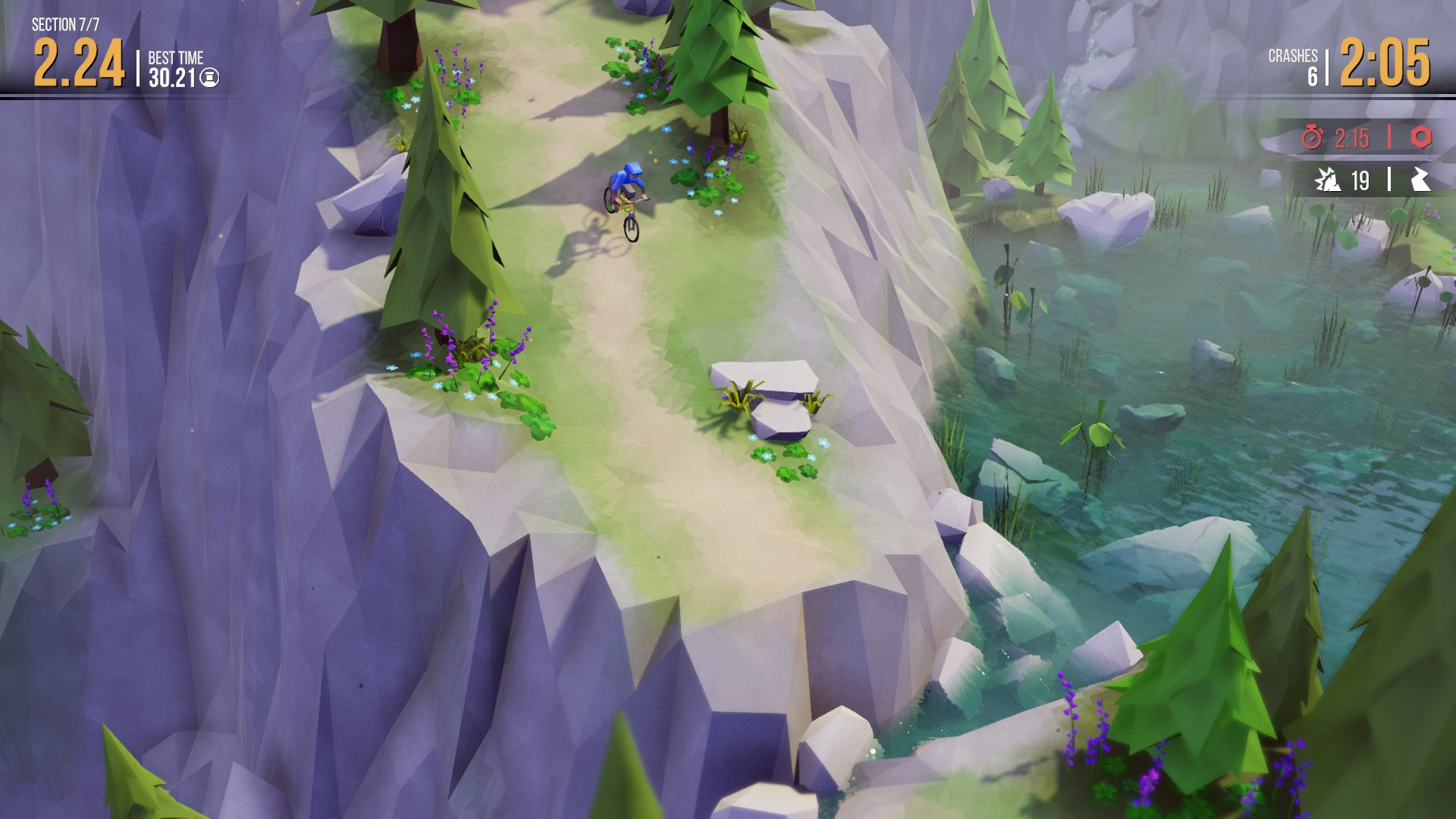 A screenshot of your rider hurtling down a steep incline towards, but hopefully not into, a lake.