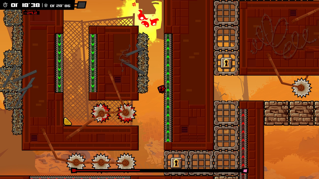 A screenshot of Meat Boy navigating some traps.