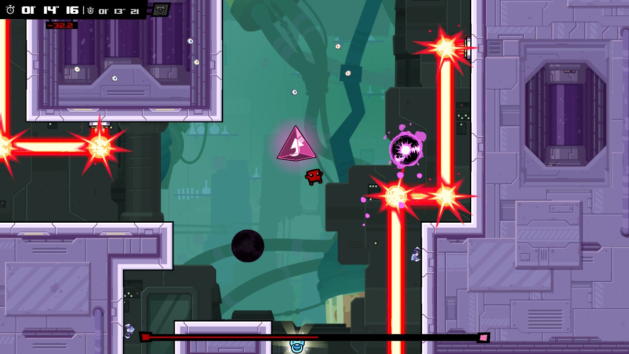 A screenshot from Super Meat Boy: Forever.