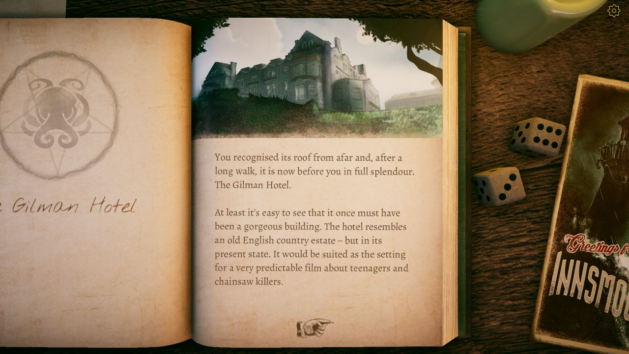 A screenshot from The Innsmouth Case, the book open to a page about The Gilman Hotel.