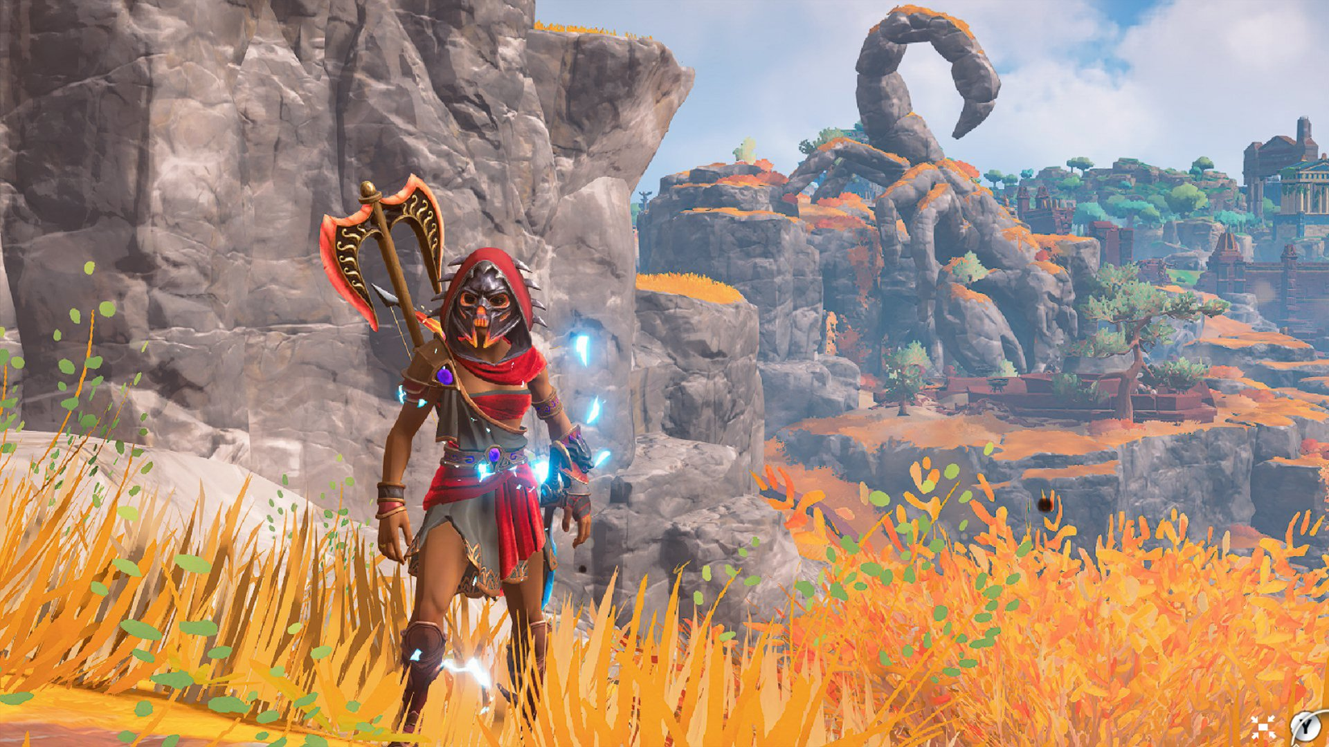 A screenshot of your axe-wielding, mask-wearing hero with a huge scorpion statue in the background.