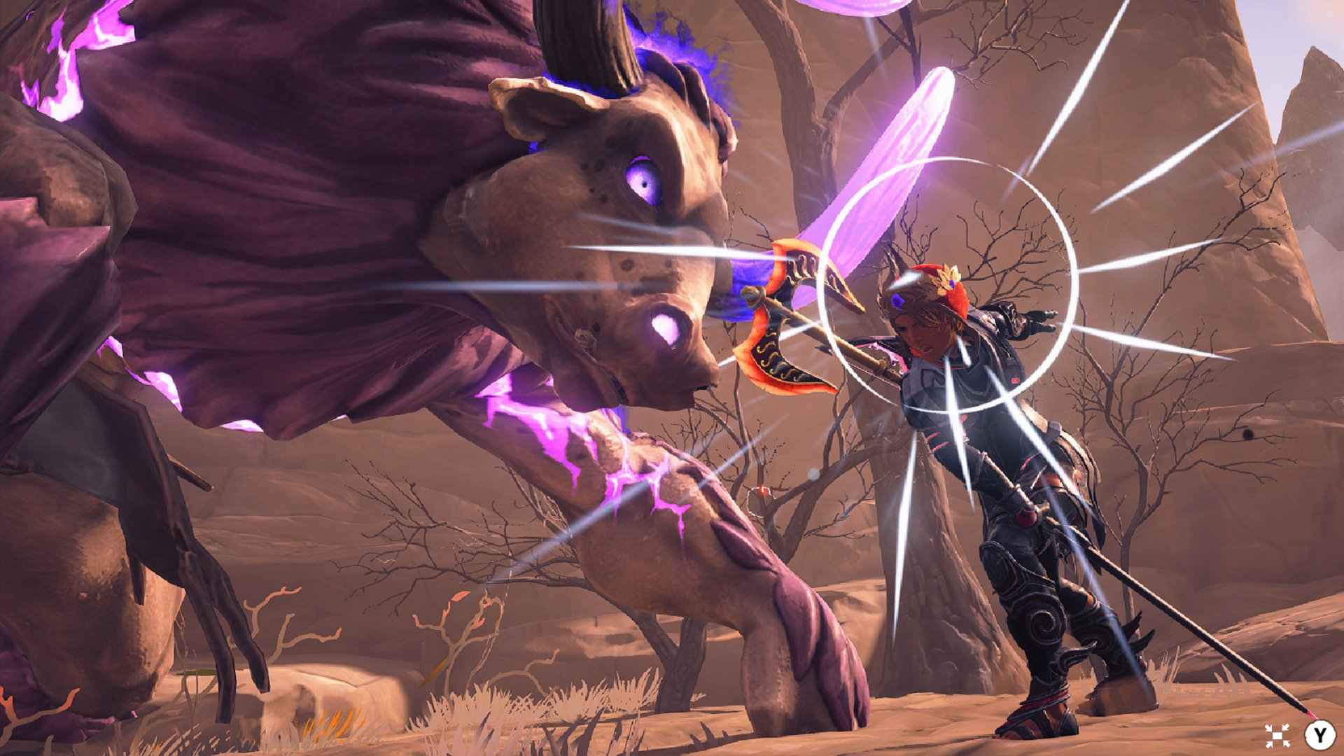 A screenshot from Fenyx, in which you're taking on a giant Minotaur.