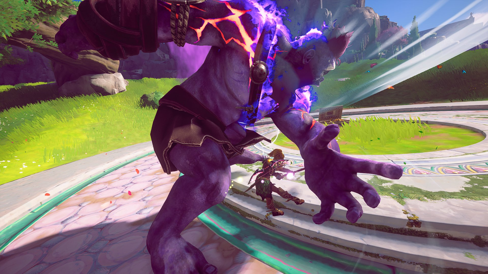 A screenshot from Fenyx, dodging a punch from a purple troll.