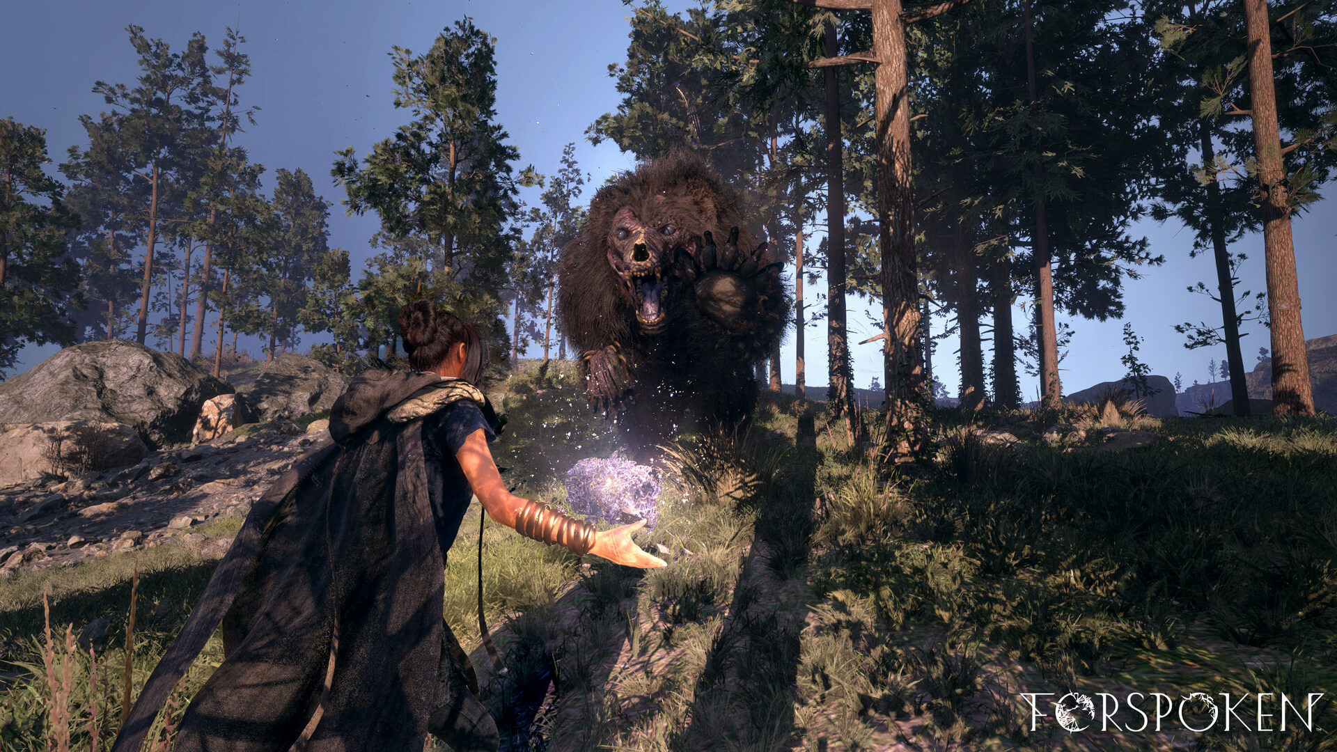 A screenshot from Forspoken, where we are about to be attacked by an enormous, undead bear.