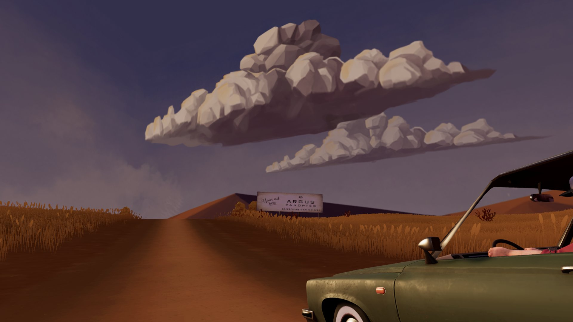 A rolling, cloud-covered landscape with your ride in the foreground.