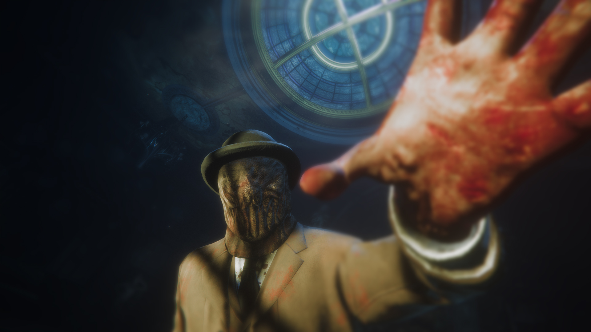 A masked man reaching towards the camera, splattered with blood.