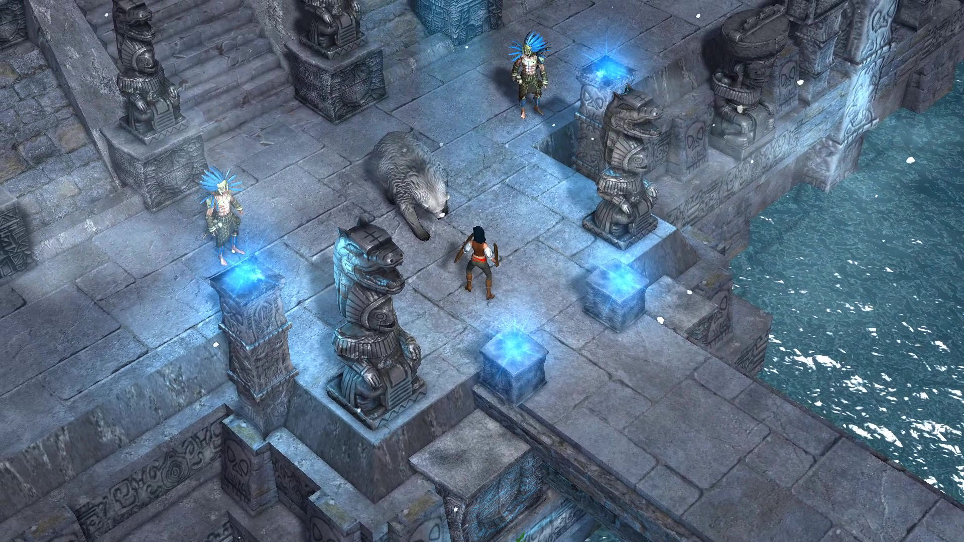 A screenshot of Aluna in a temple setting, about to fight a polar bear and two goons.