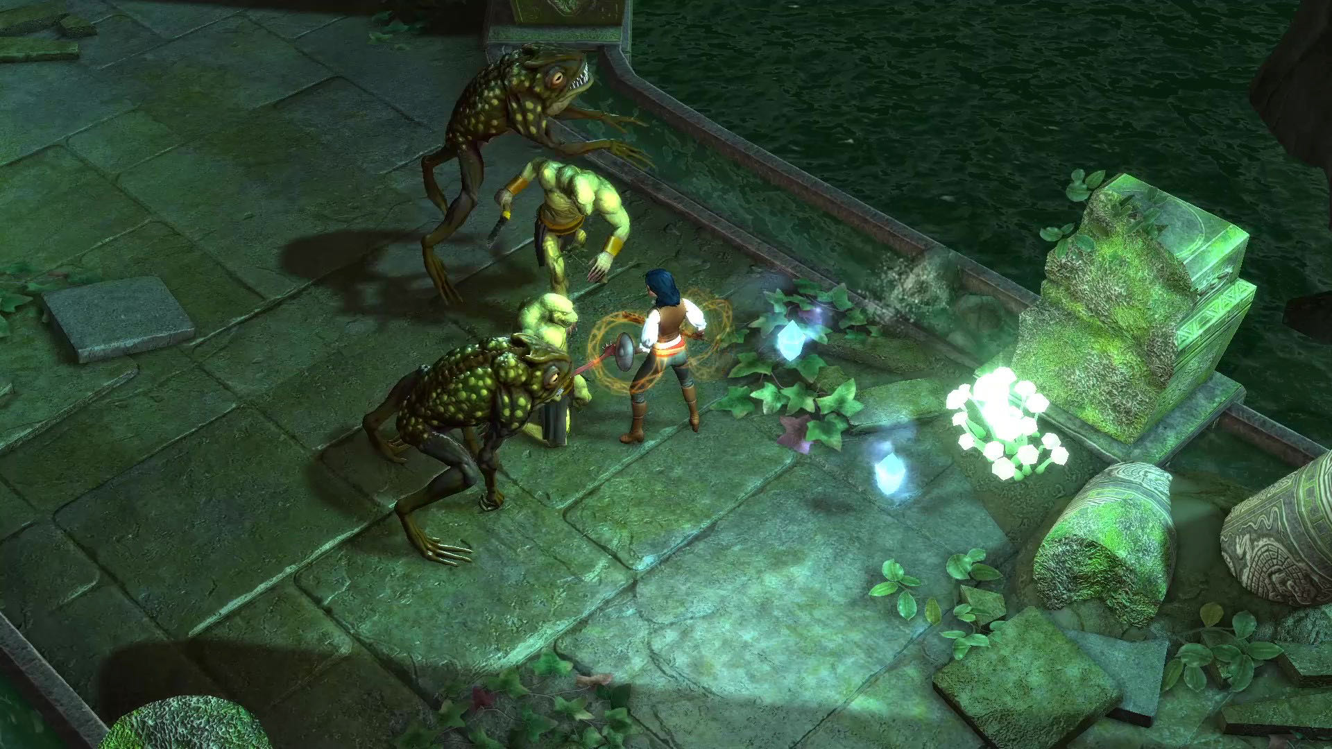 A screenshot of Aluna, surrounded by frog- and orc-like enemies.